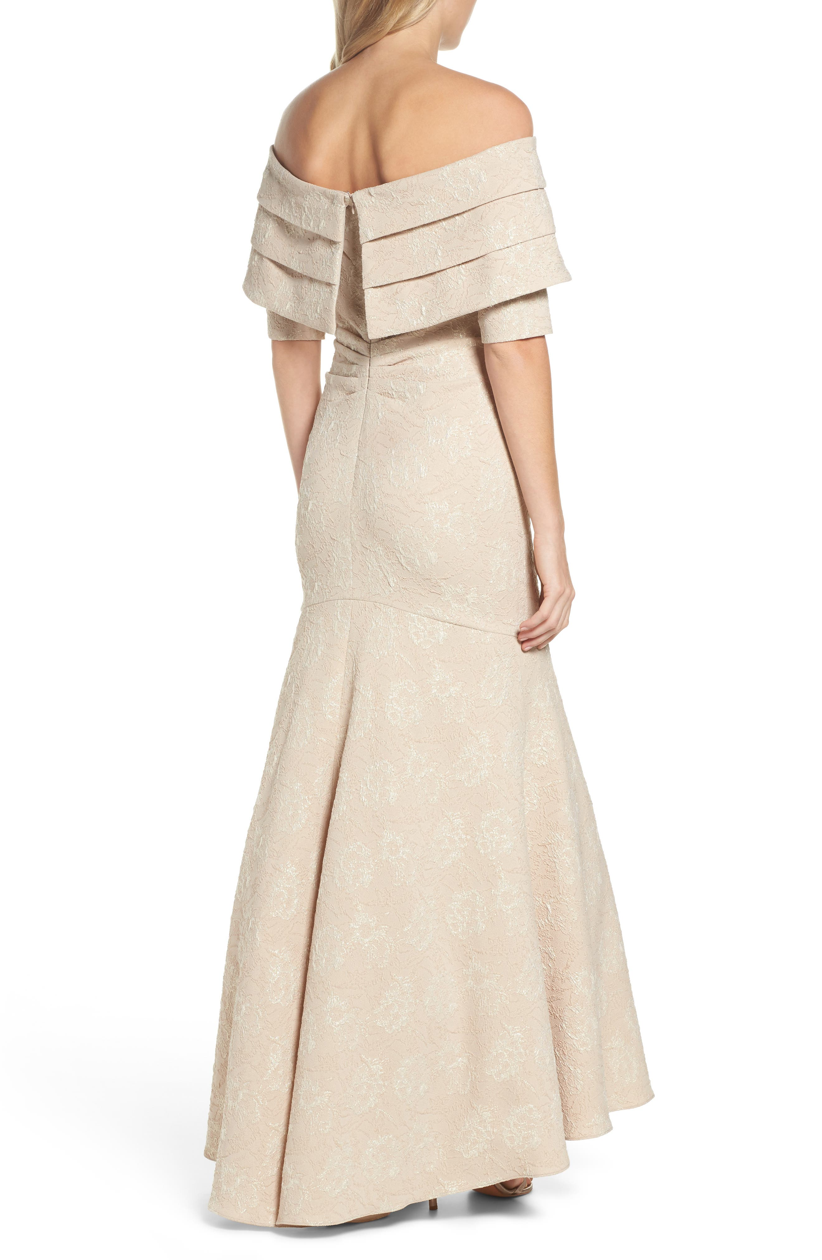 Brocade Off the Shoulder Trumpet Gown,                             Alternate thumbnail 2, color,                             Champagne
