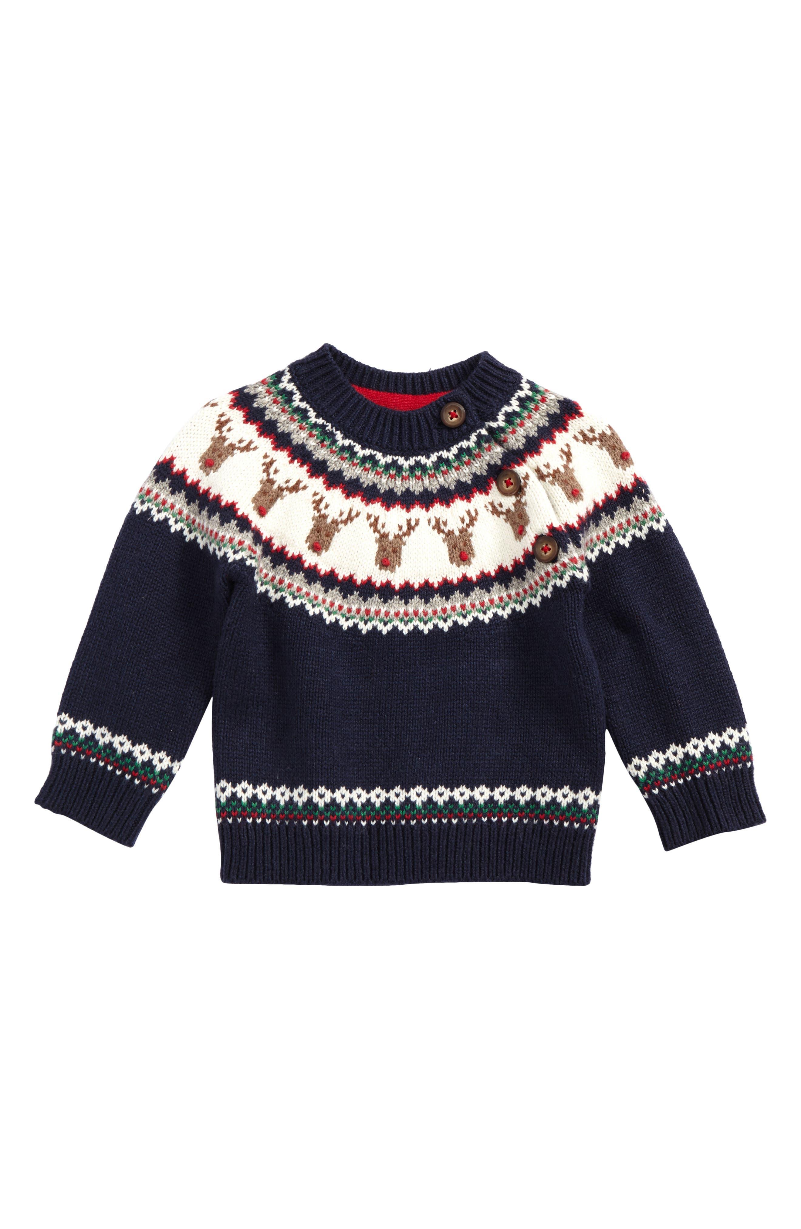 Fair Isle Sweater,                             Main thumbnail 1, color,                             Beacon Blue Reindeer Fair Isle