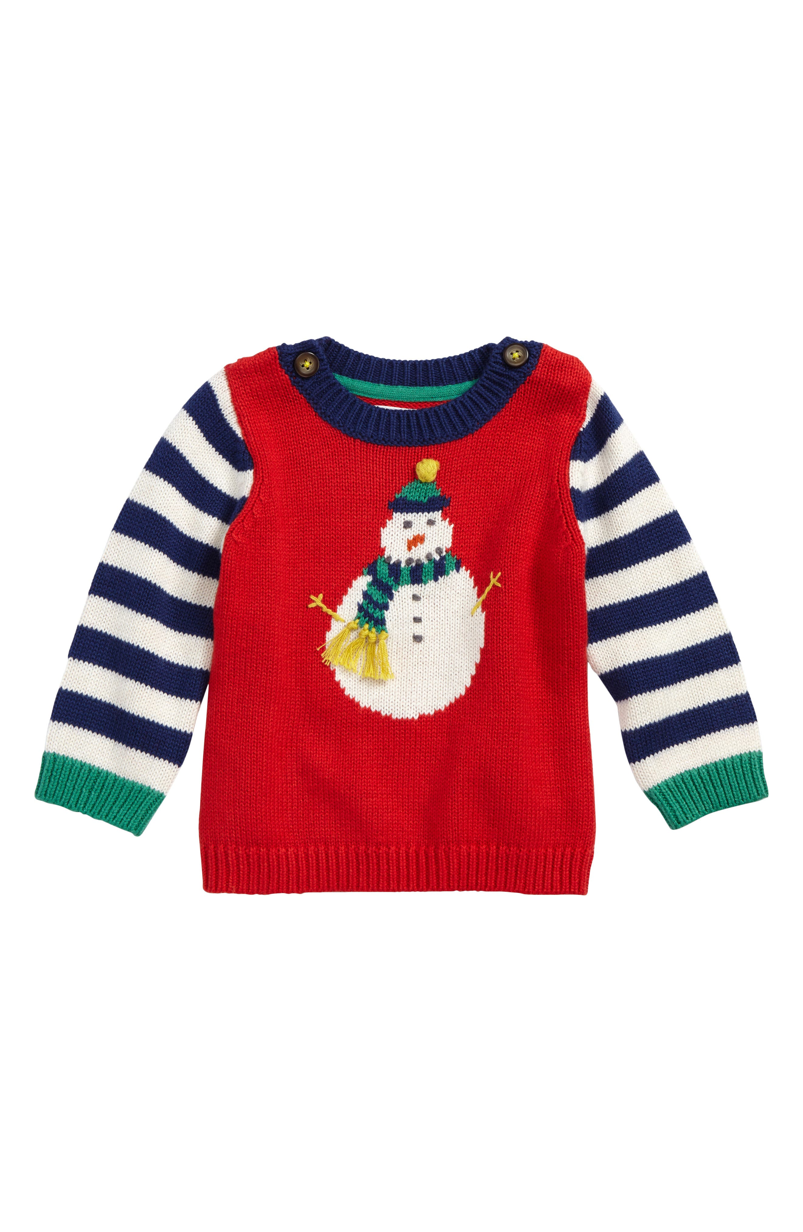 Fun Knit Sweater,                             Main thumbnail 1, color,                             Beatnik Red Snowman