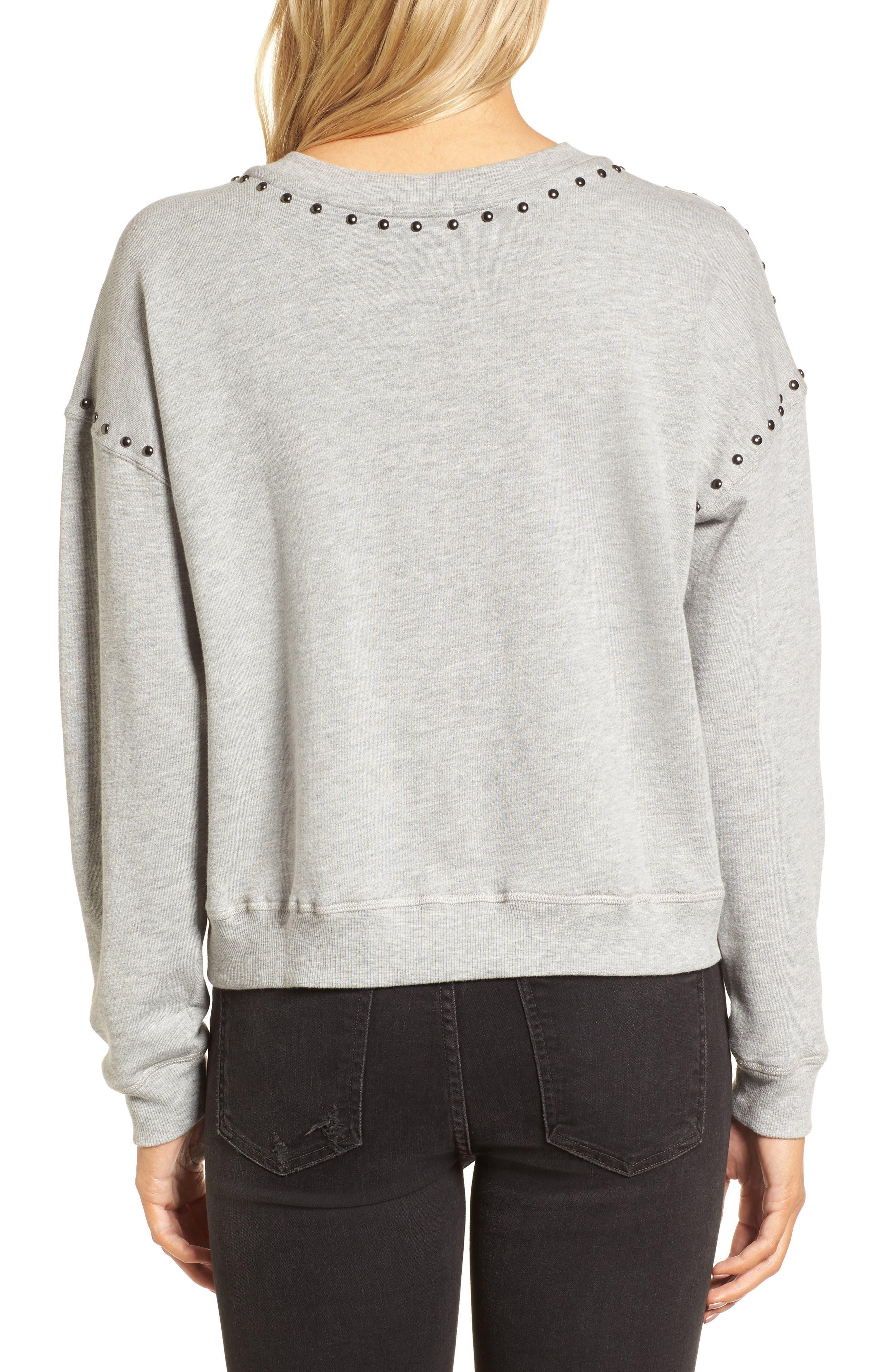 Wilson Studded Sweatshirt,                             Alternate thumbnail 2, color,                             Heather Grey