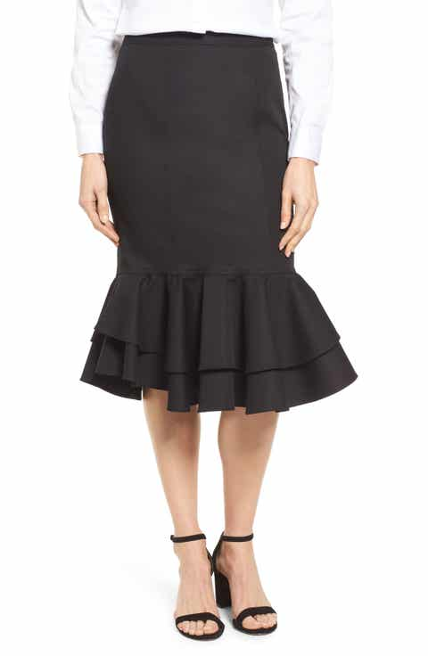 Halogen® Ruffle Hem Pencil Skirt (Regular & Petite)