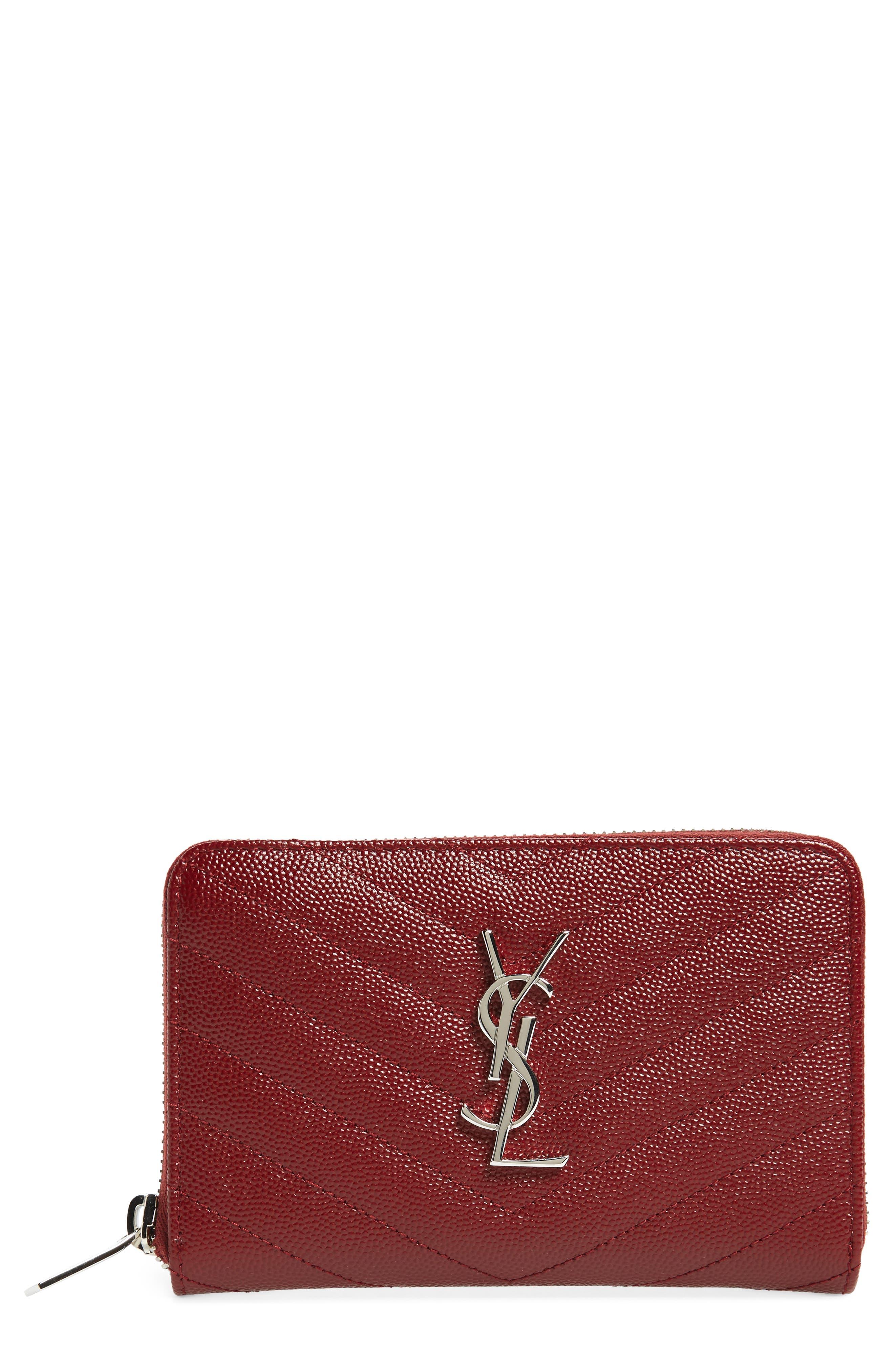 Saint Laurent Small Grained Leather Zip Around Wallet