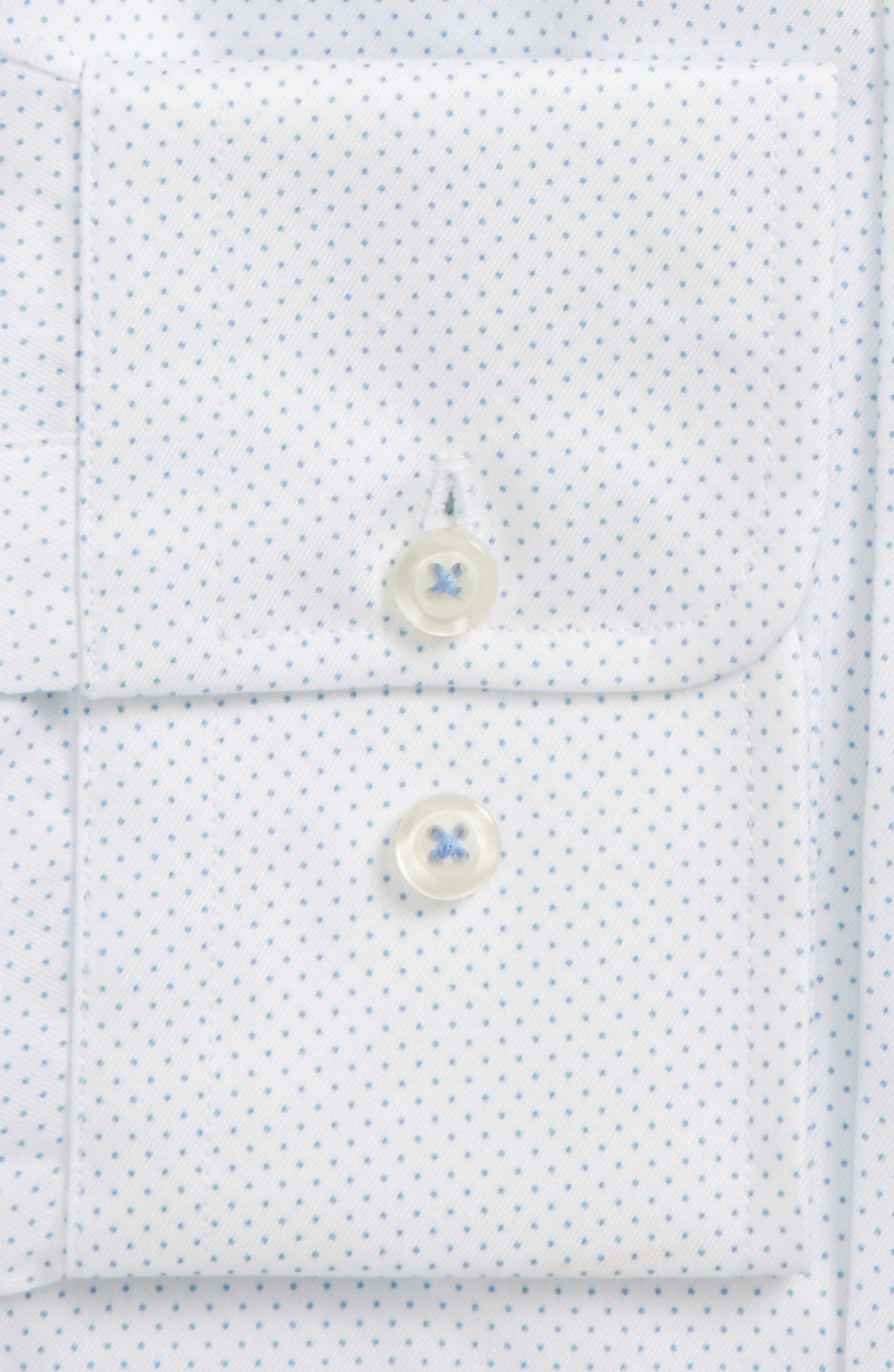 Trim Fit Dot Dress Shirt,                             Alternate thumbnail 2, color,                             White/ Blue
