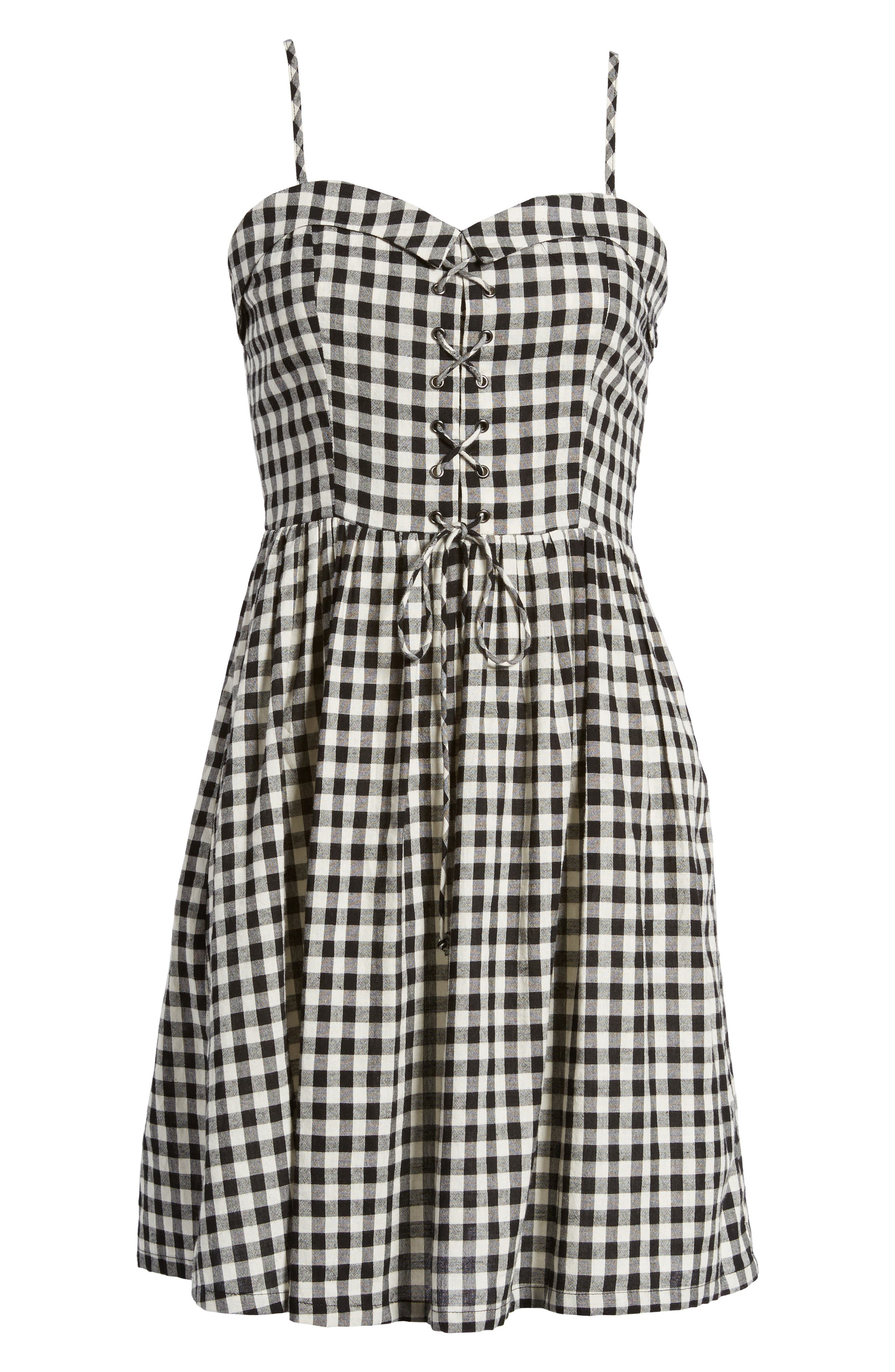 Lace-Up Gingham Dress,                             Alternate thumbnail 7, color,                             Black Gingham