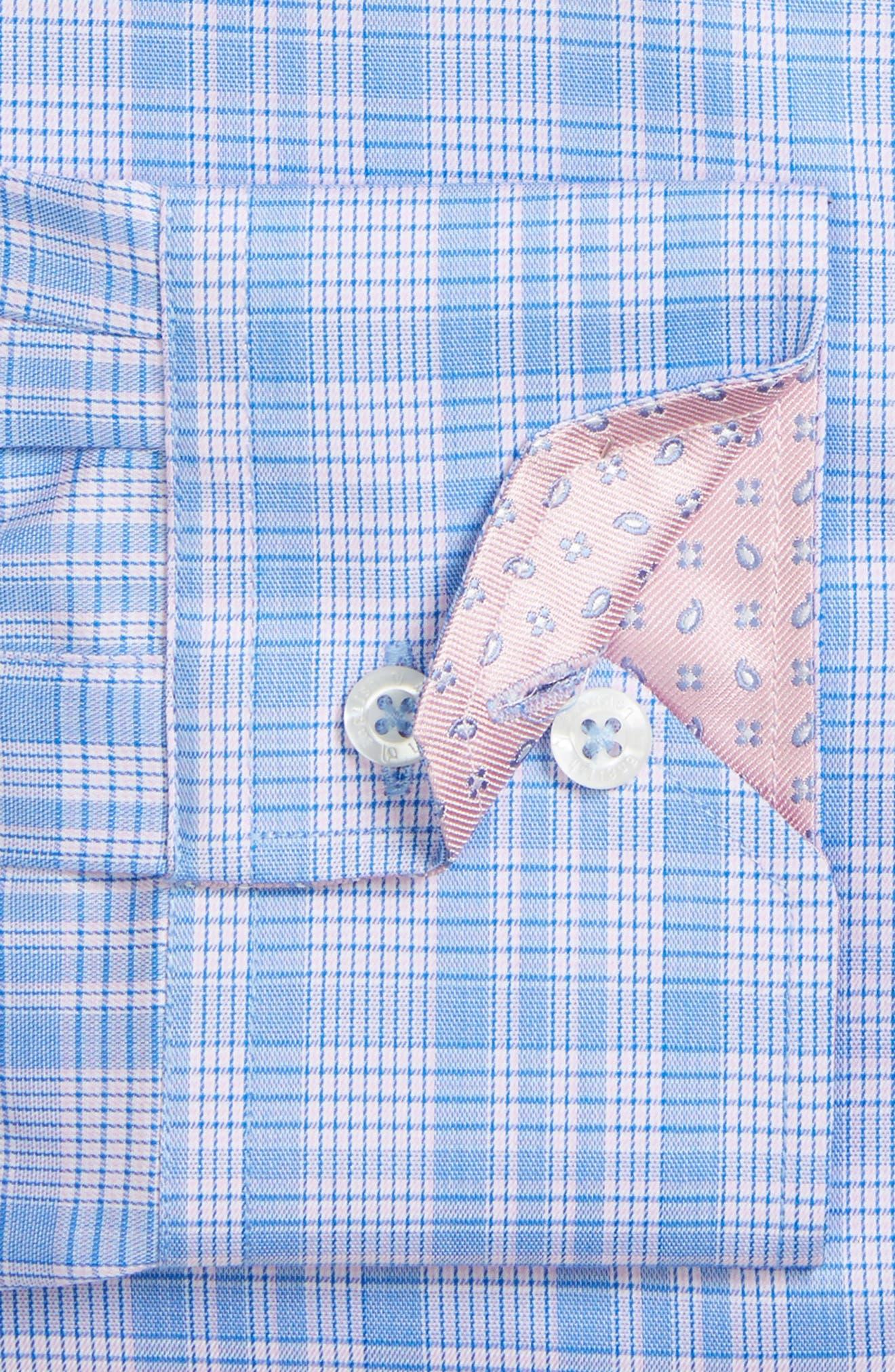 Trim Fit Plaid Dress Shirt,                             Alternate thumbnail 2, color,                             Pink