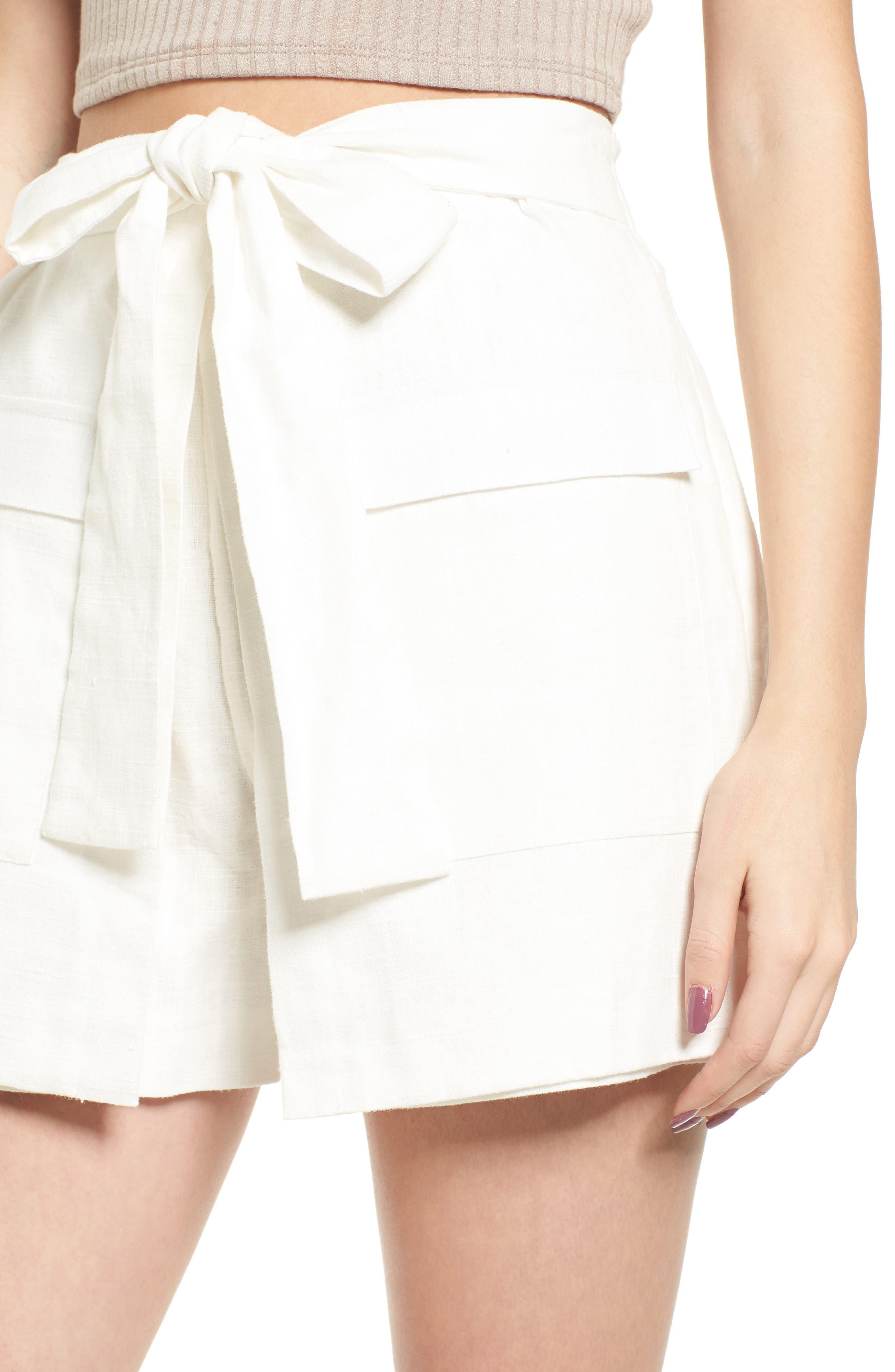 Tie Front Linen & Cotton Skort,                             Alternate thumbnail 5, color,                             White