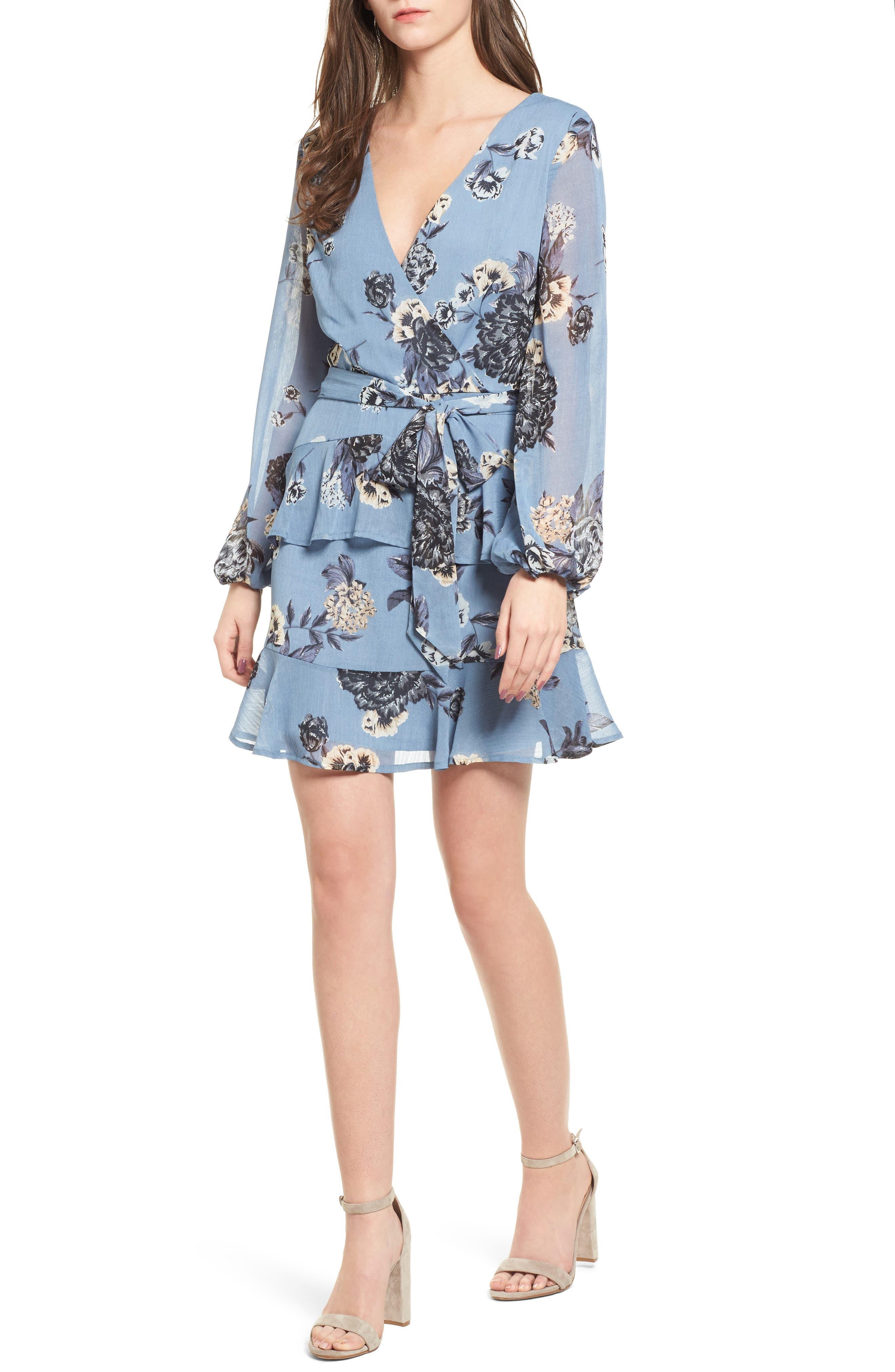 Floral Wrap Style Dress,                             Main thumbnail 1, color,                             Blue Print
