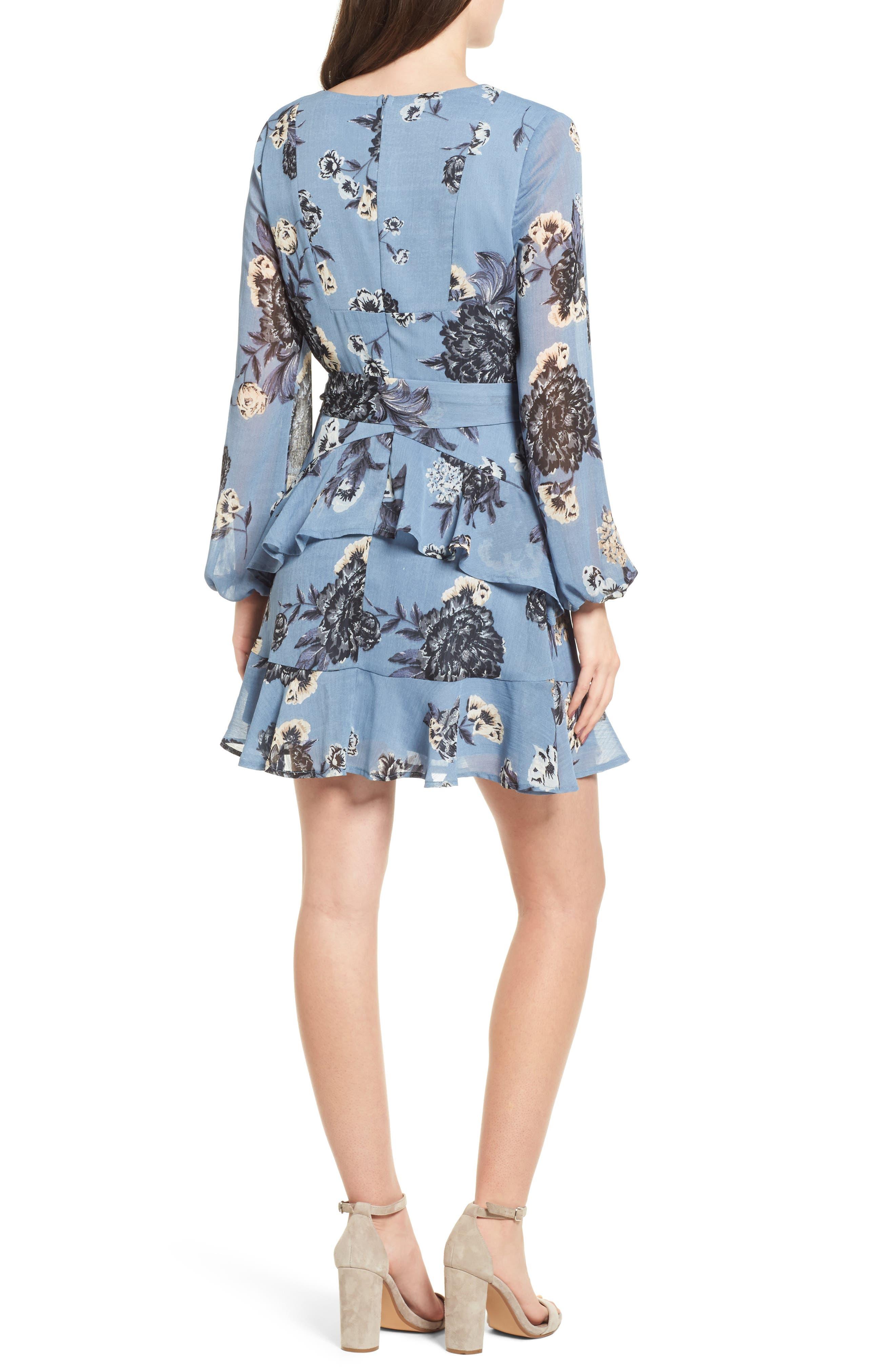 Floral Wrap Style Dress,                             Alternate thumbnail 2, color,                             Blue Print