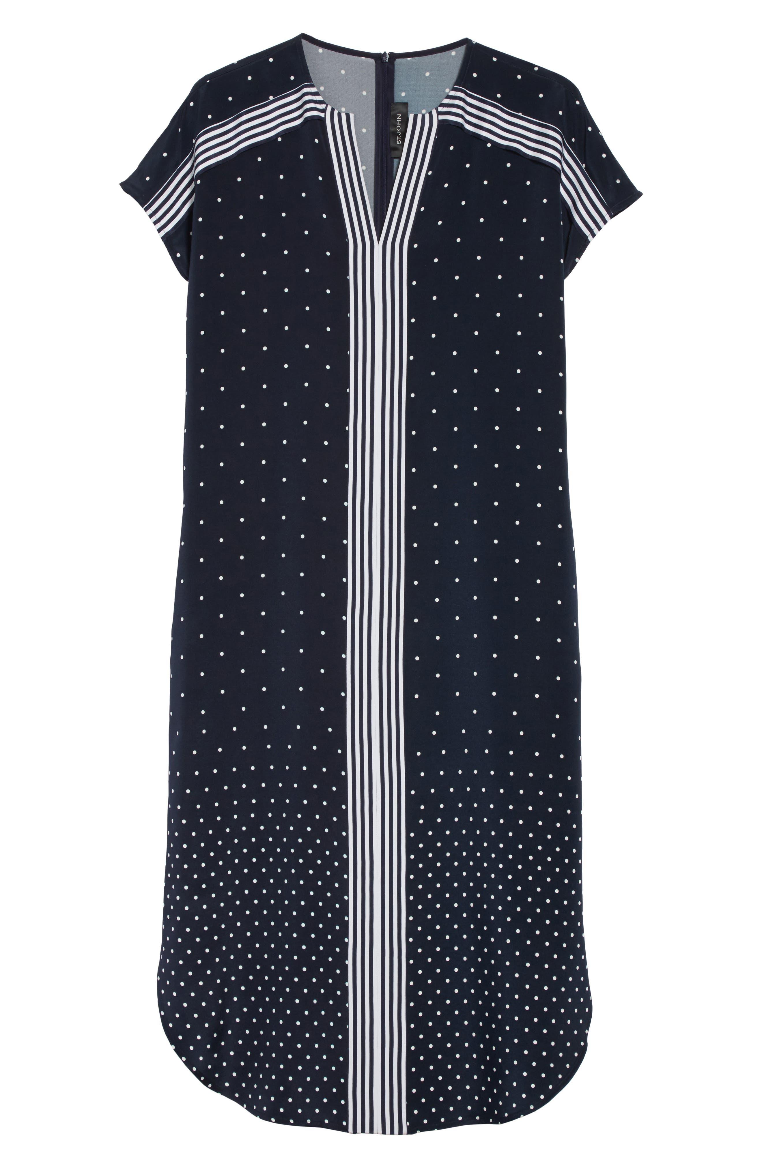 Dot & Stripe Stretch Dress,                             Alternate thumbnail 6, color,                             Navy