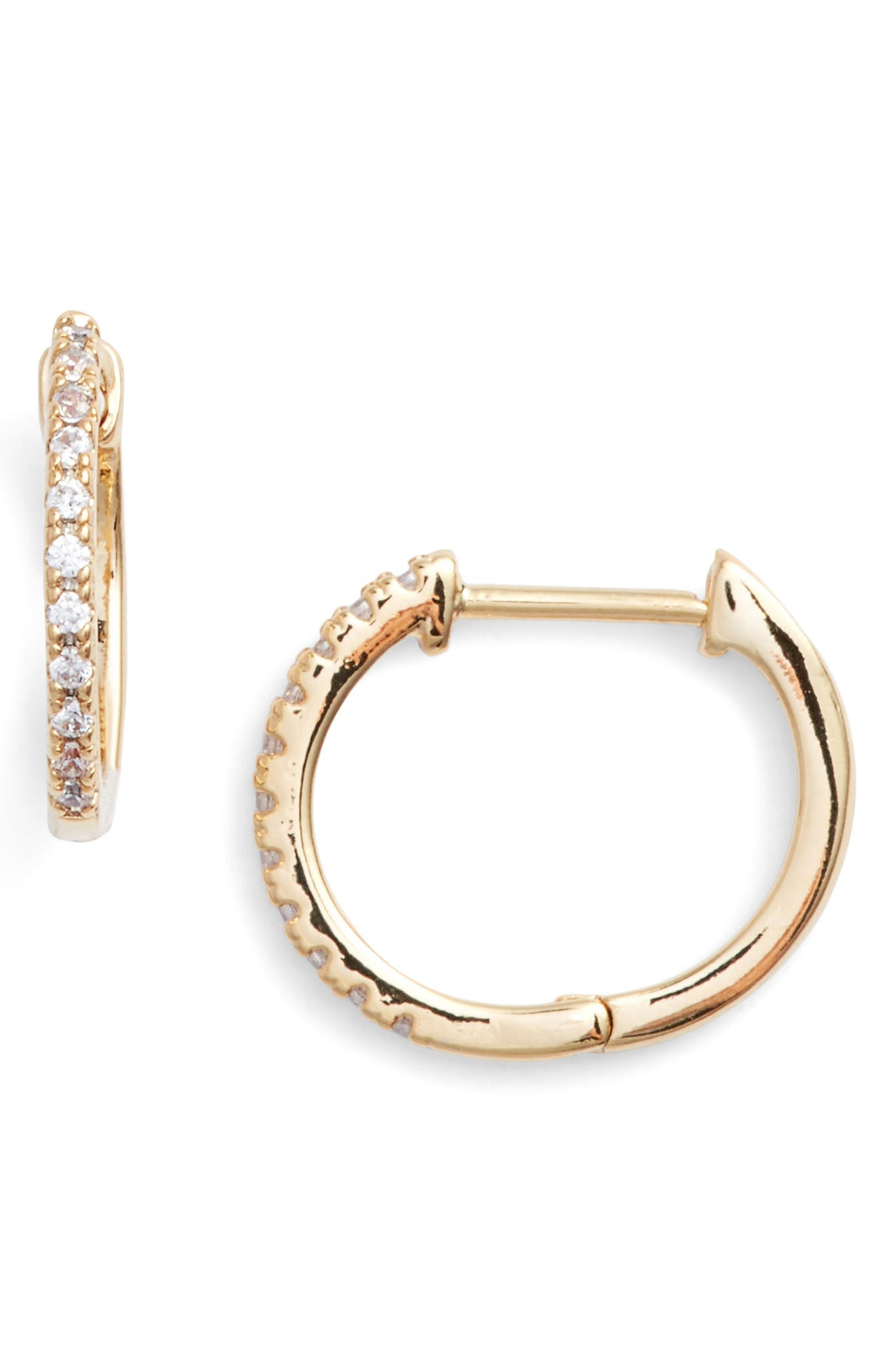 Kennedy Petite Stone Hoops,                         Main,                         color, Gold/ Cubic Zirconia