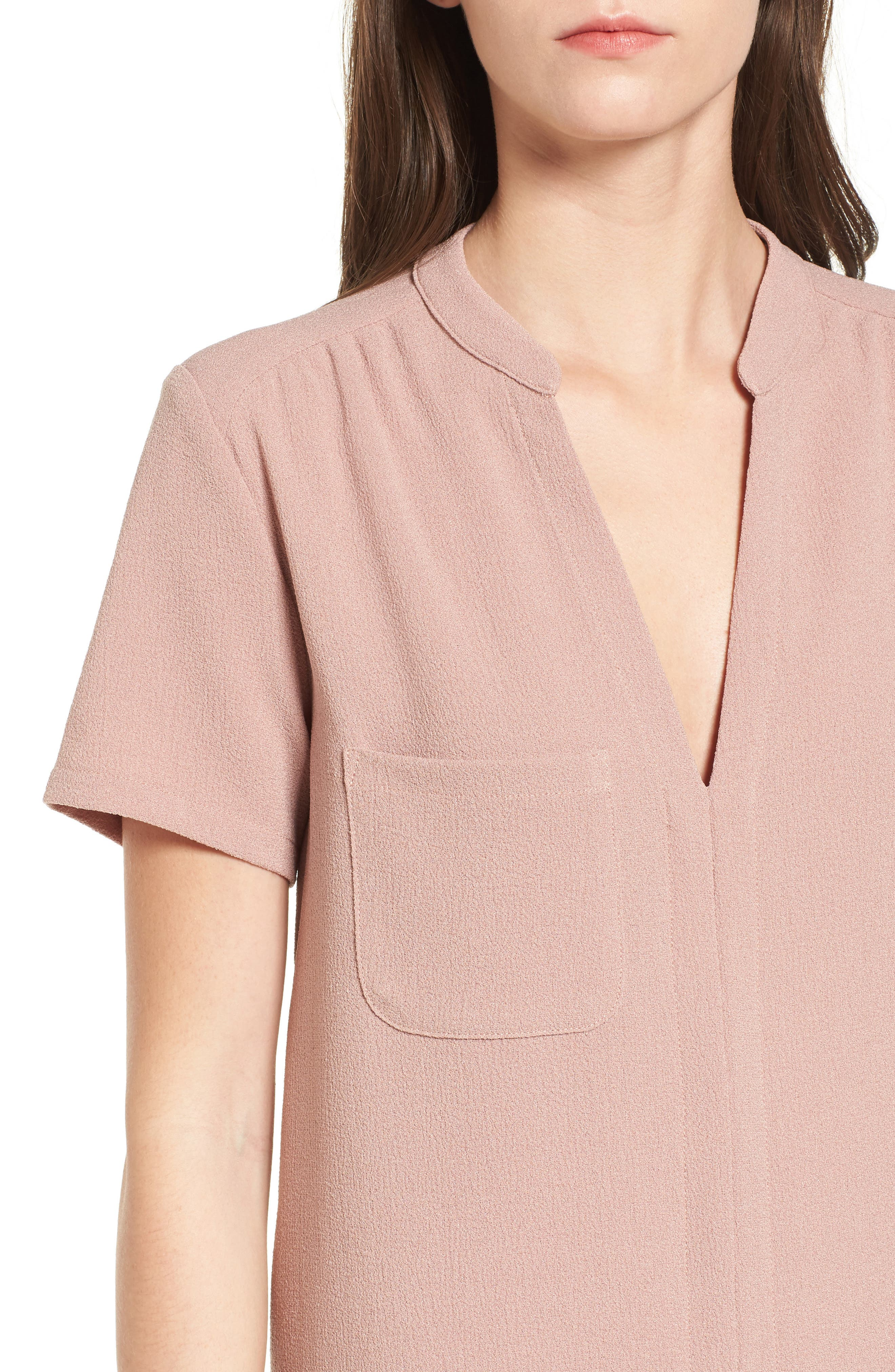 Hailey Crepe Dress,                             Alternate thumbnail 5, color,                             Pink Adobe