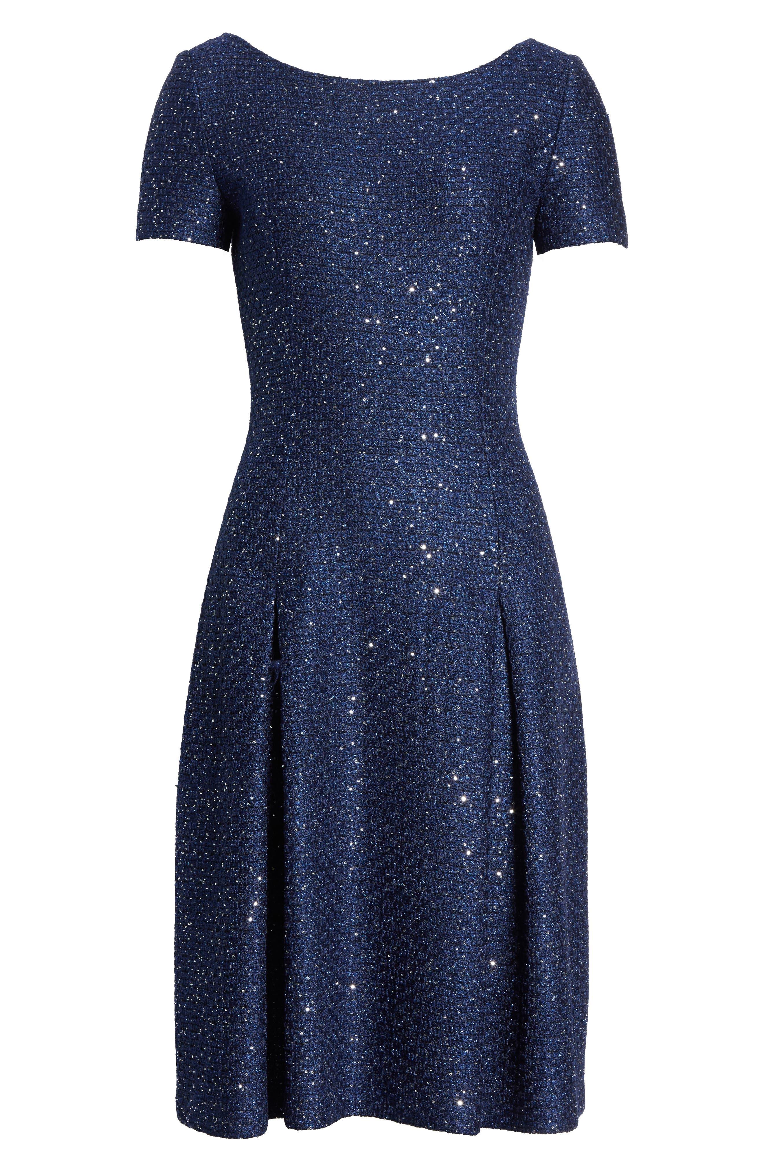 Sparkle Sequin Knit Fit & Flare Dress,                             Alternate thumbnail 7, color,                             Navy Multi