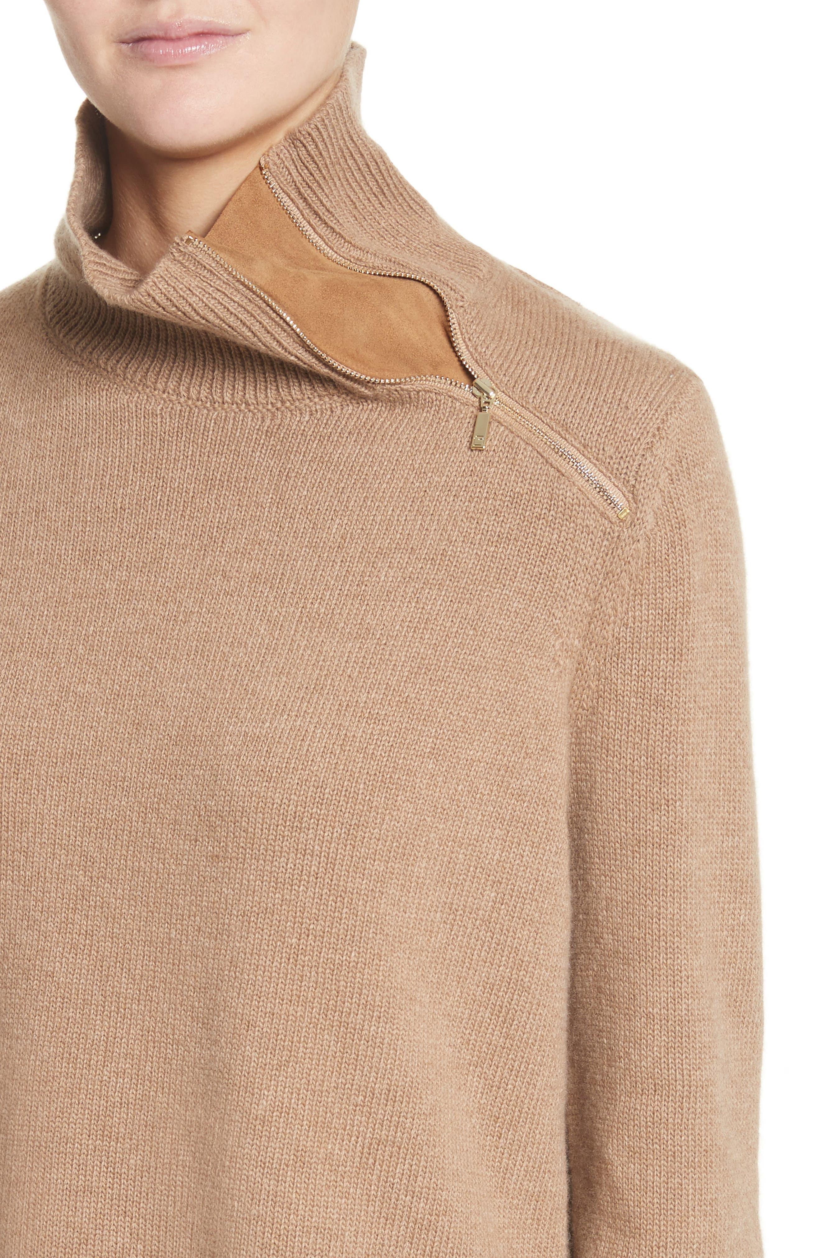 Suede Zip Detail Wool & Cashmere Crop Sweater,                             Alternate thumbnail 4, color,                             Cammello Melange
