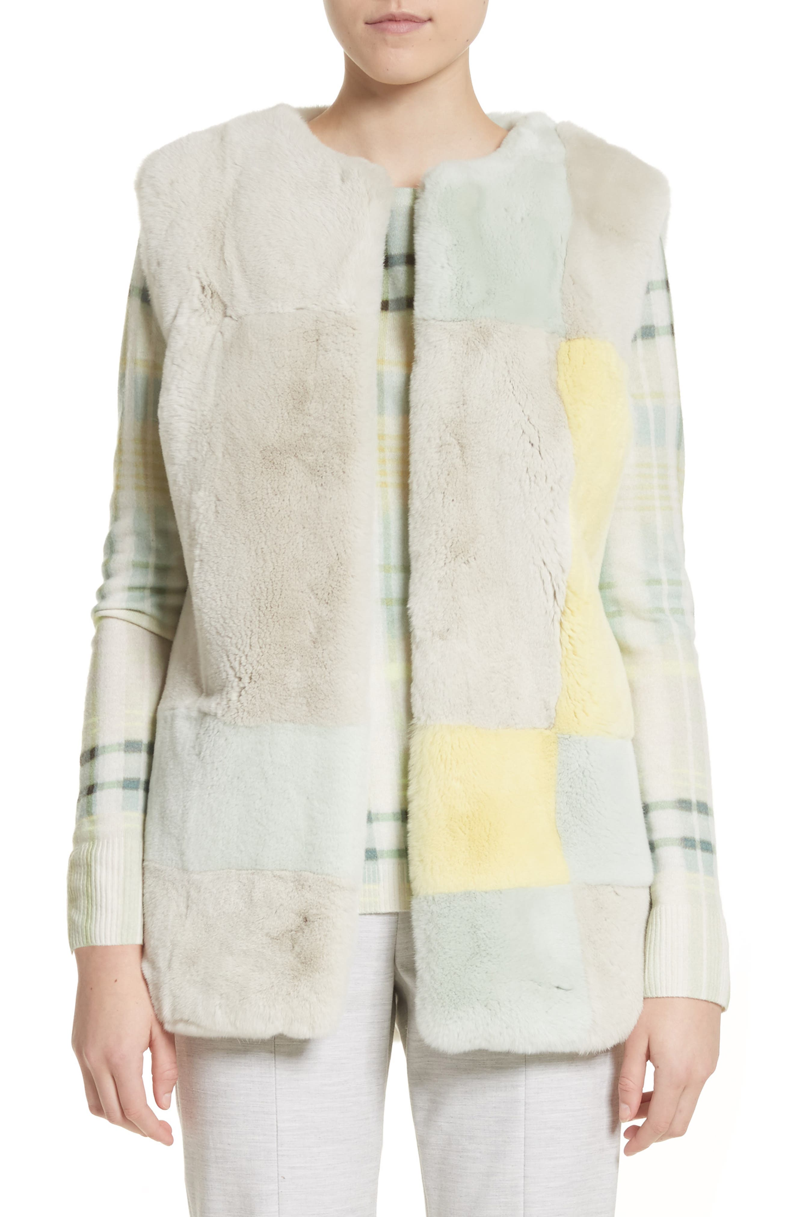 Genuine Rabbit Fur Intarsia Vest,                         Main,                         color, Mint Multi