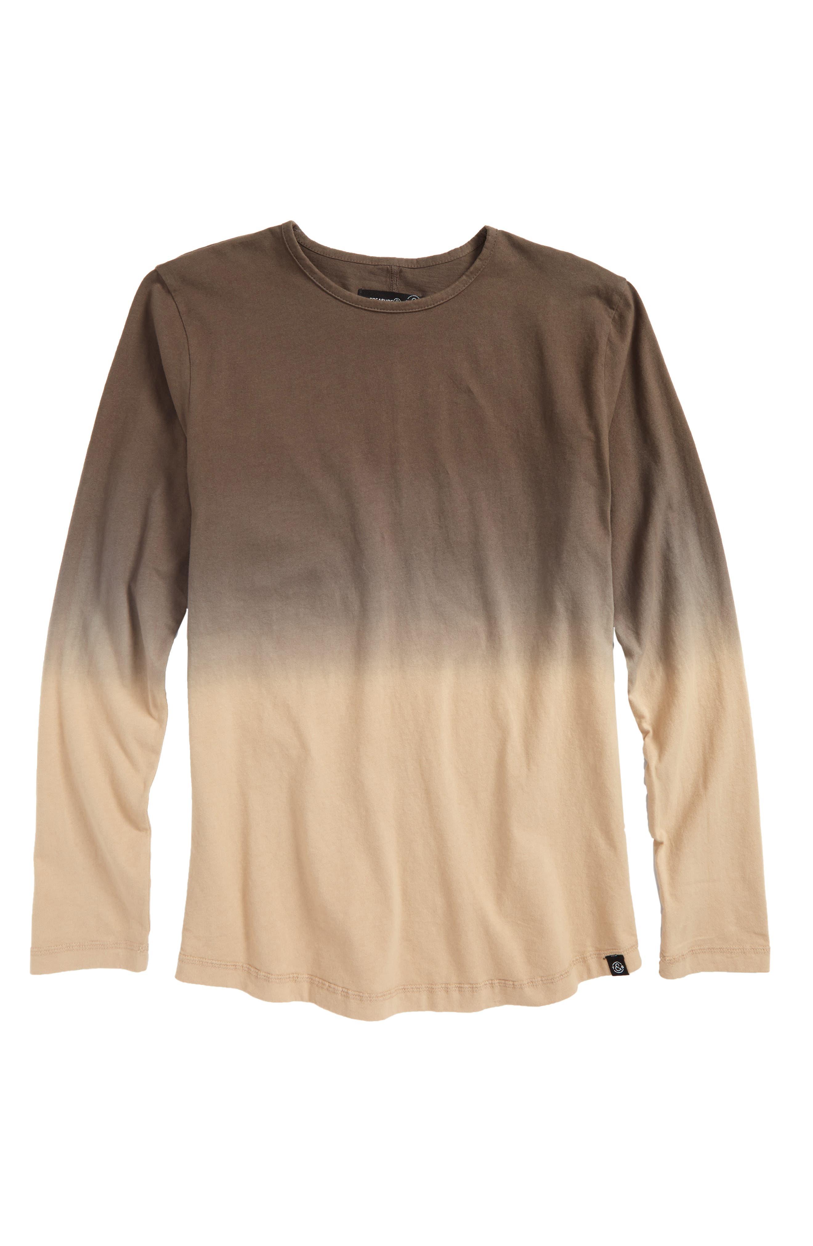 Dip Dye T-Shirt,                         Main,                         color, Olive Grove- Beige