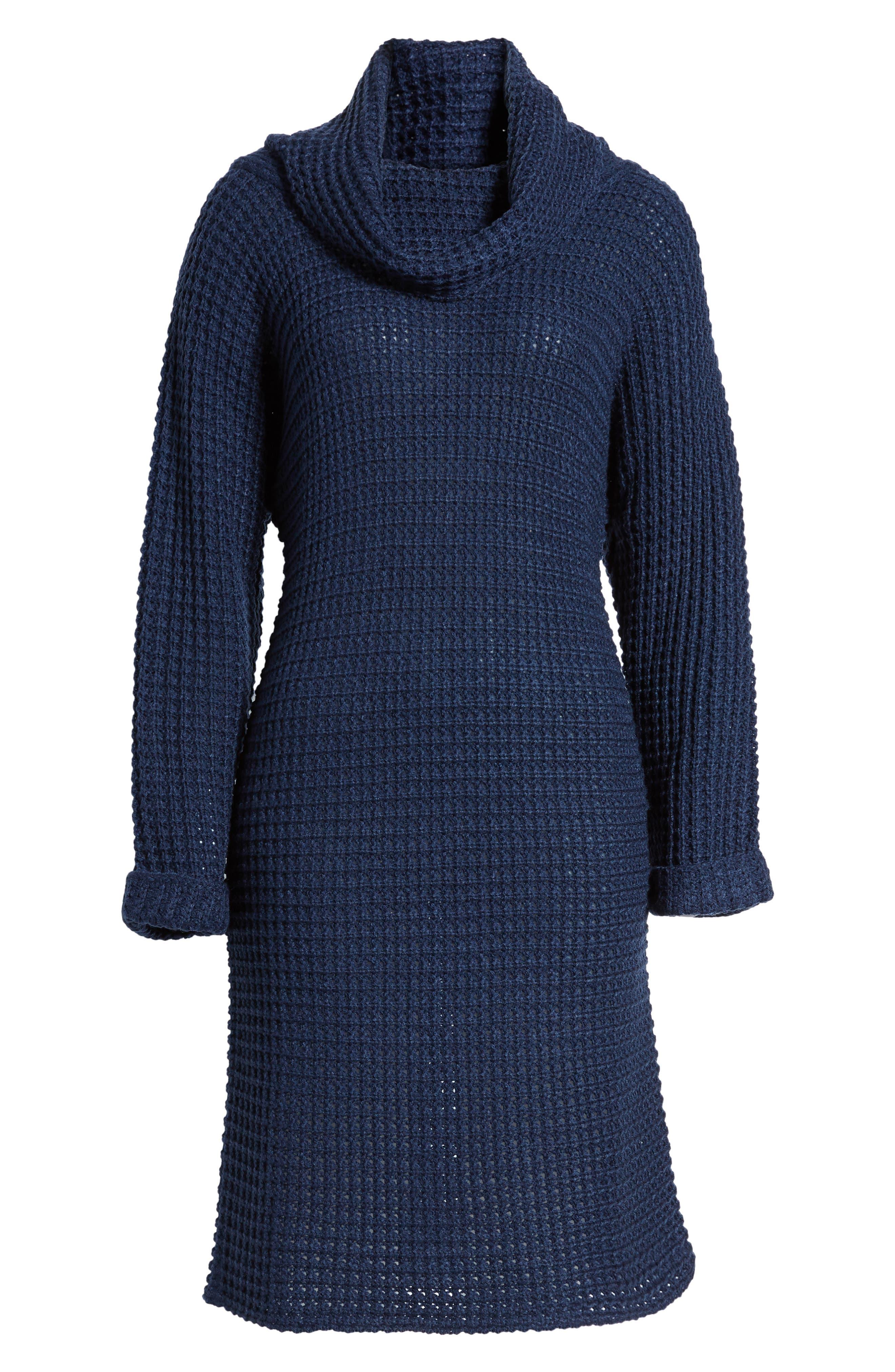 Turtleneck Sweater Dress,                             Alternate thumbnail 6, color,                             Navy