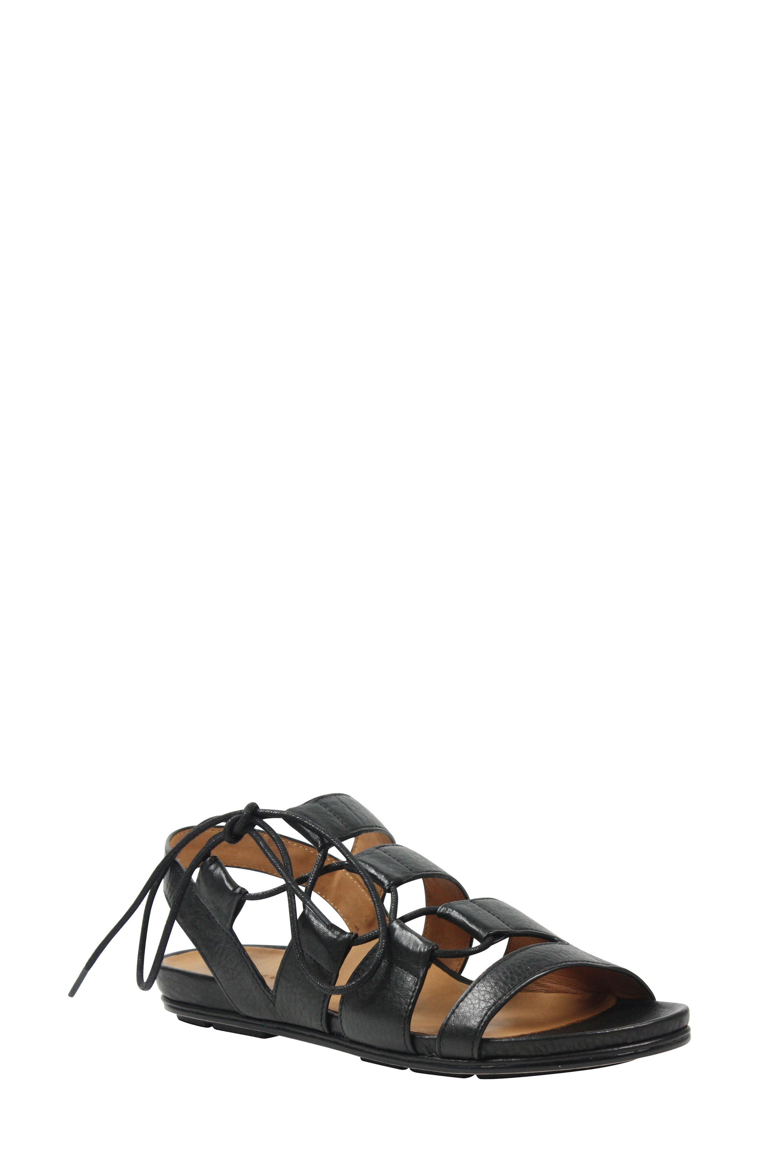 Digbee Sandal,                             Main thumbnail 1, color,                             Black Leather