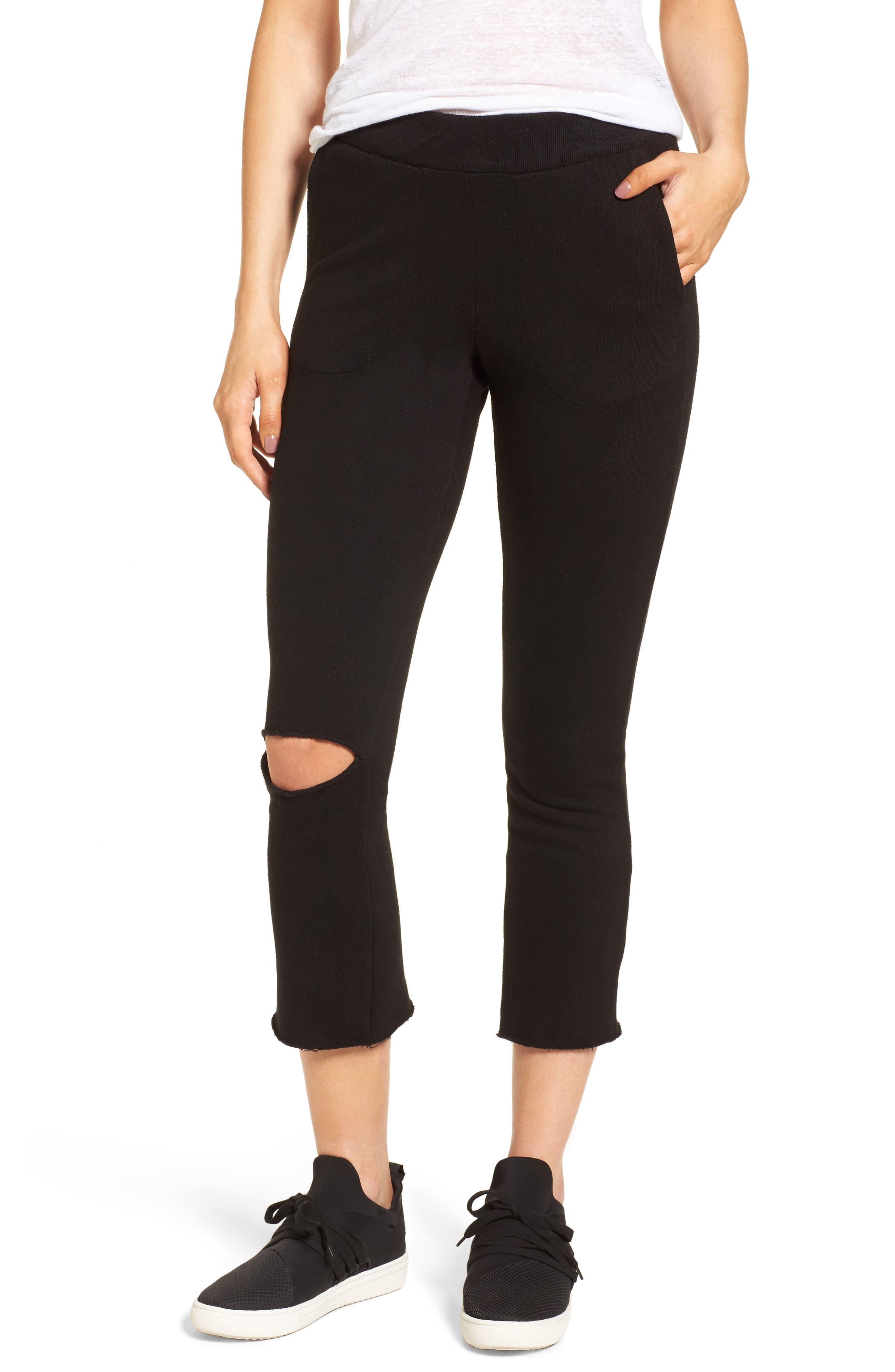 Malibu Slit Knee Sweatpants,                         Main,                         color, Black Cat
