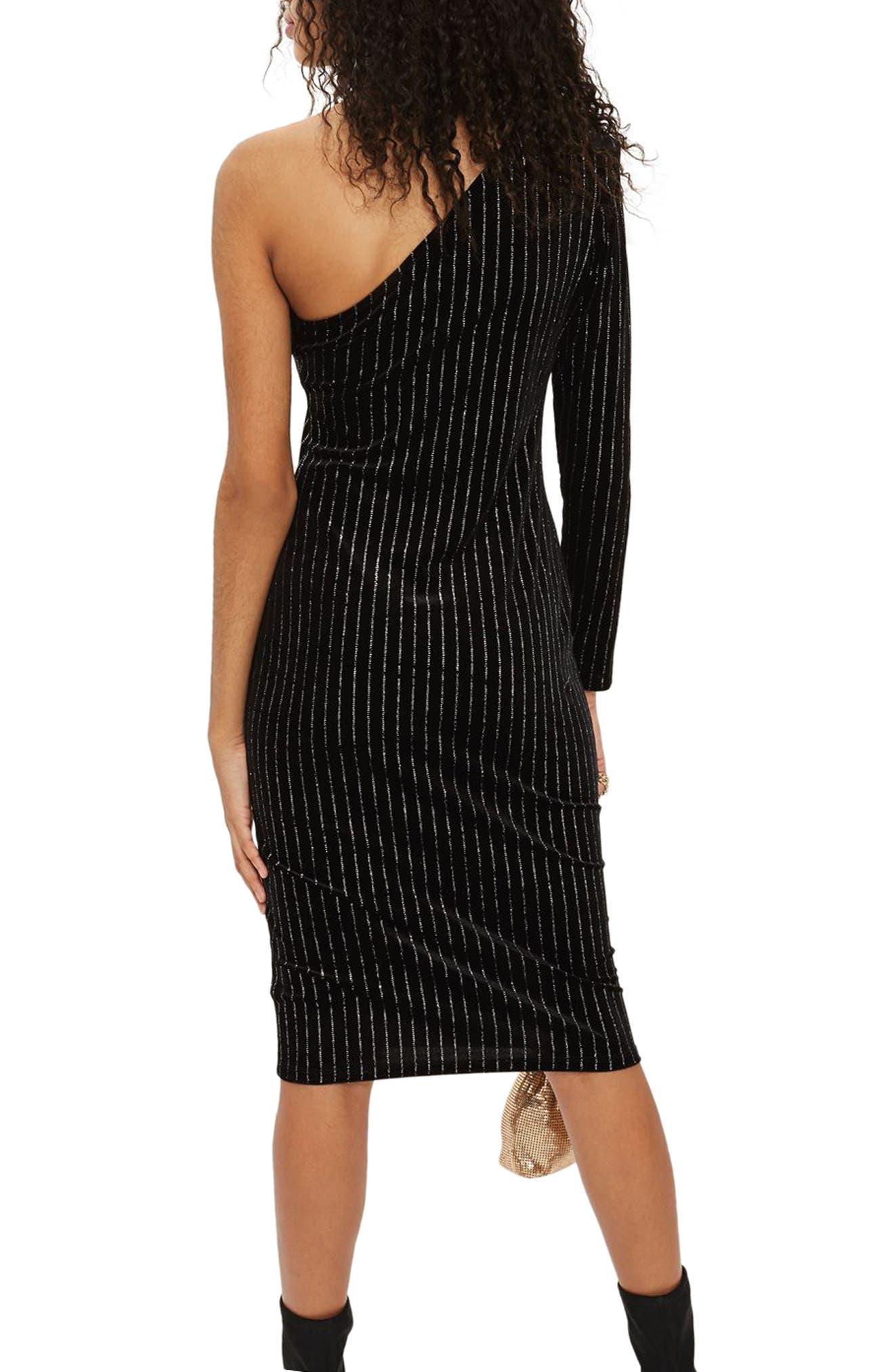 Glitter Stripe One-Shoulder Dress,                             Alternate thumbnail 3, color,                             Black