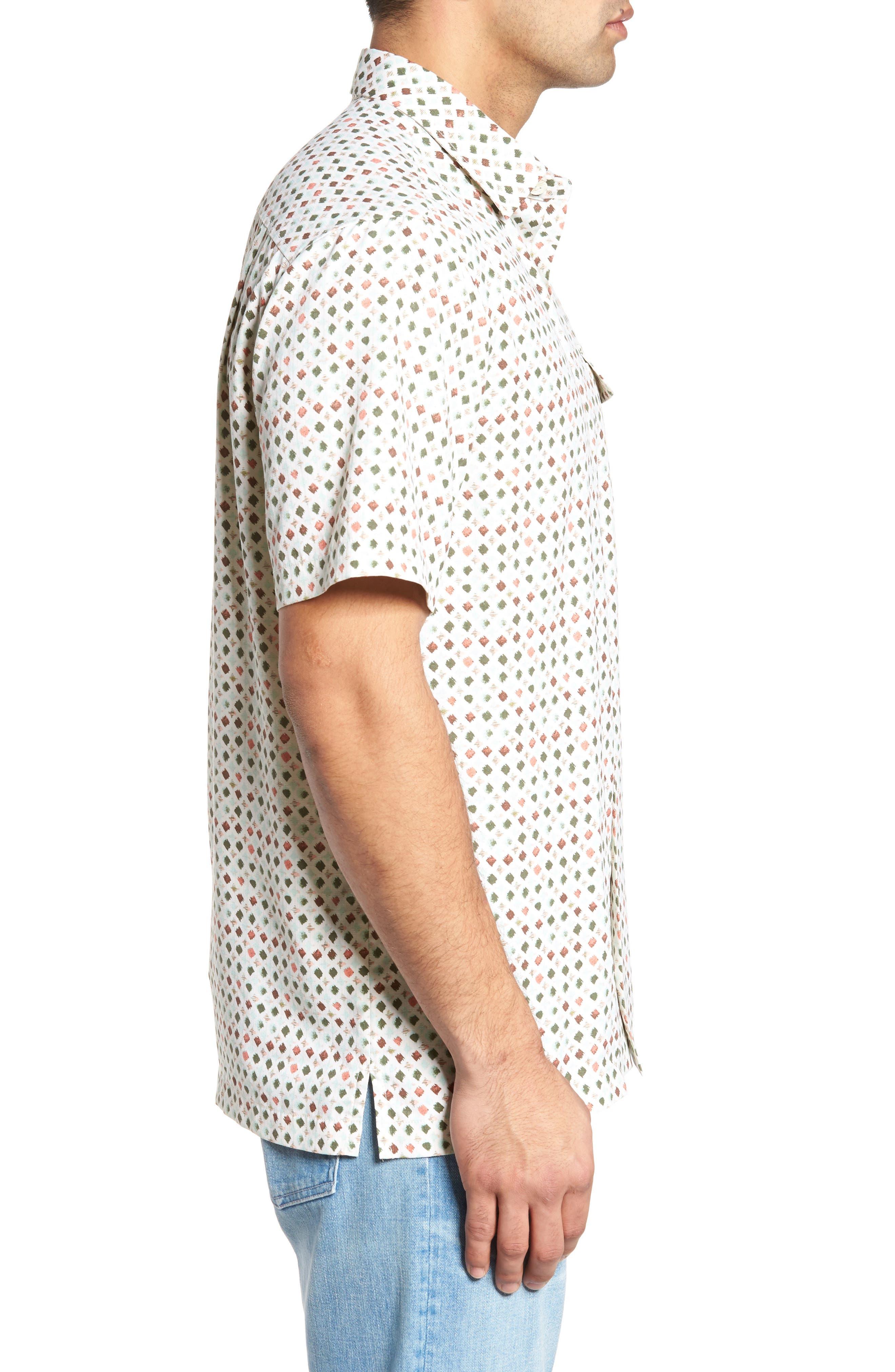 Atomic Geo Print Silk Sport Shirt,                             Alternate thumbnail 3, color,                             Coconut Cream