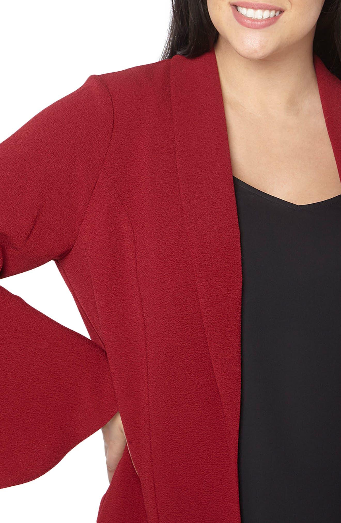 Bell Sleeve Crepe Jacket,                             Alternate thumbnail 4, color,                             Wine
