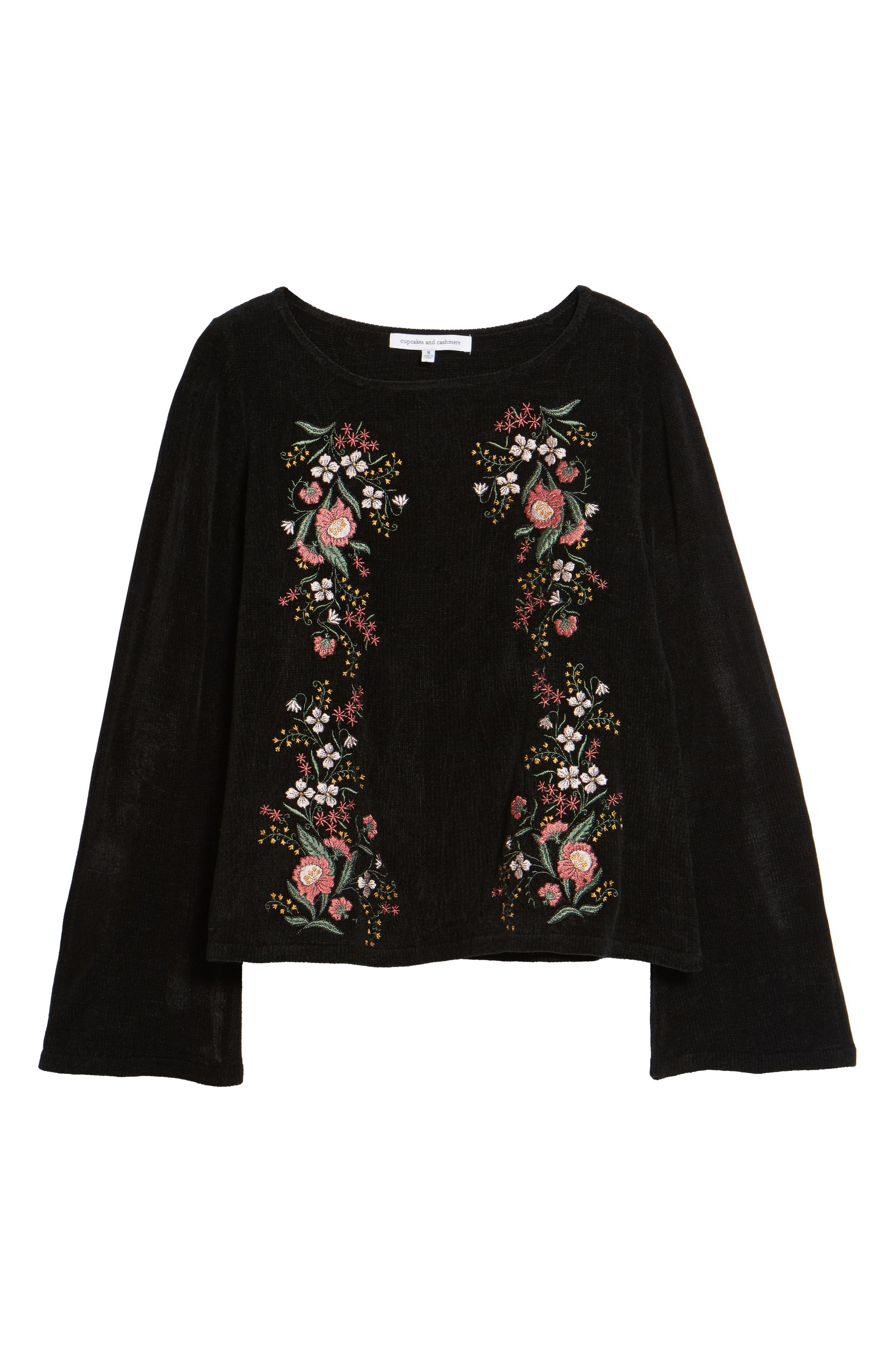 Ruthie Embroidered Sweater,                             Alternate thumbnail 6, color,                             Black