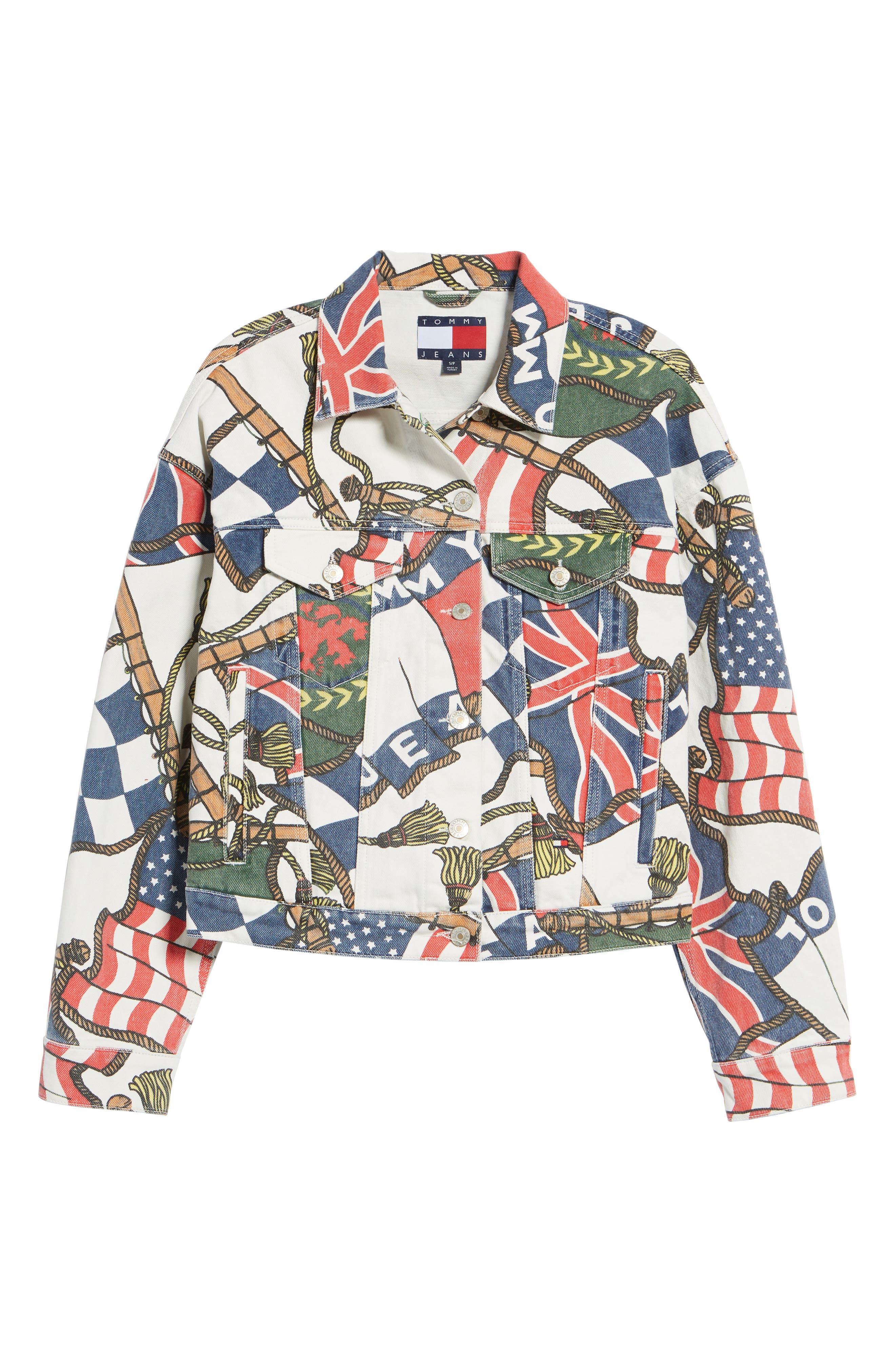 '90s Flag Print Denim Jacket,                             Alternate thumbnail 7, color,                             Bright White / Multi