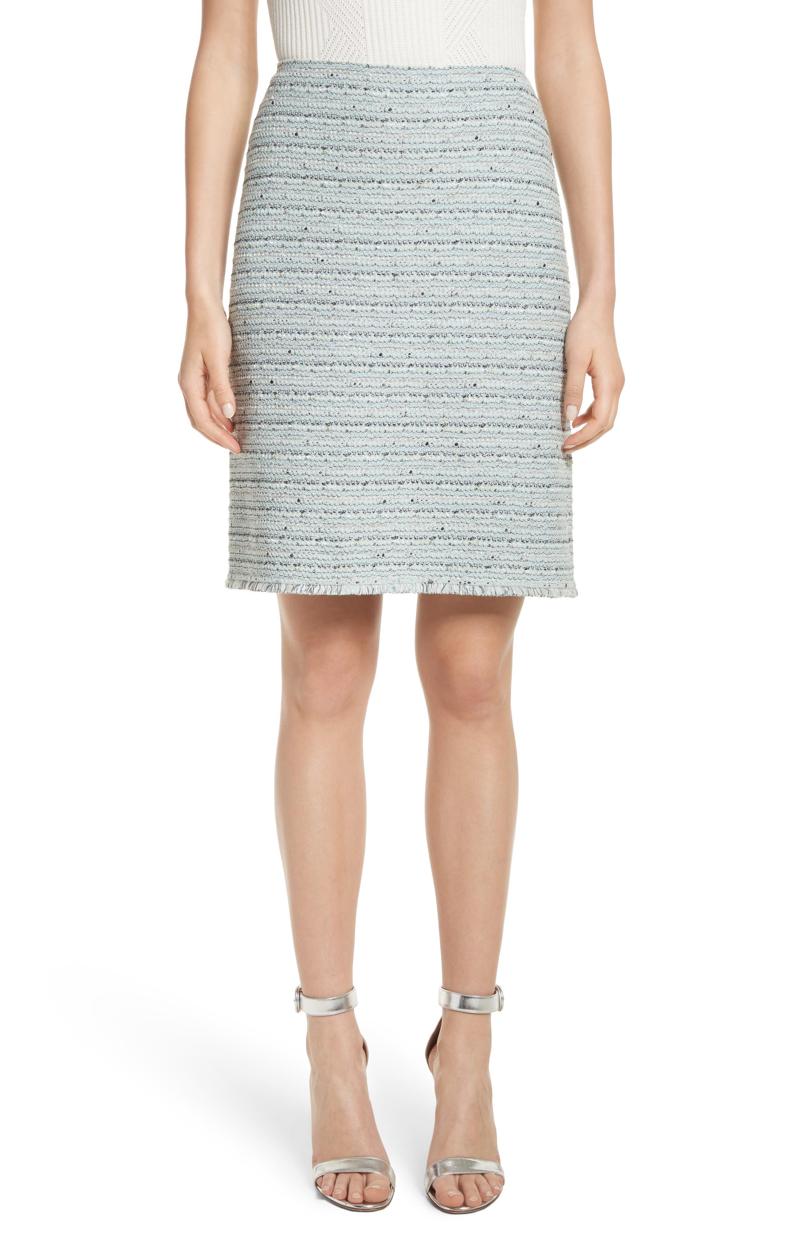 Riana Tweed Pencil Skirt,                             Main thumbnail 1, color,                             Mint Multi
