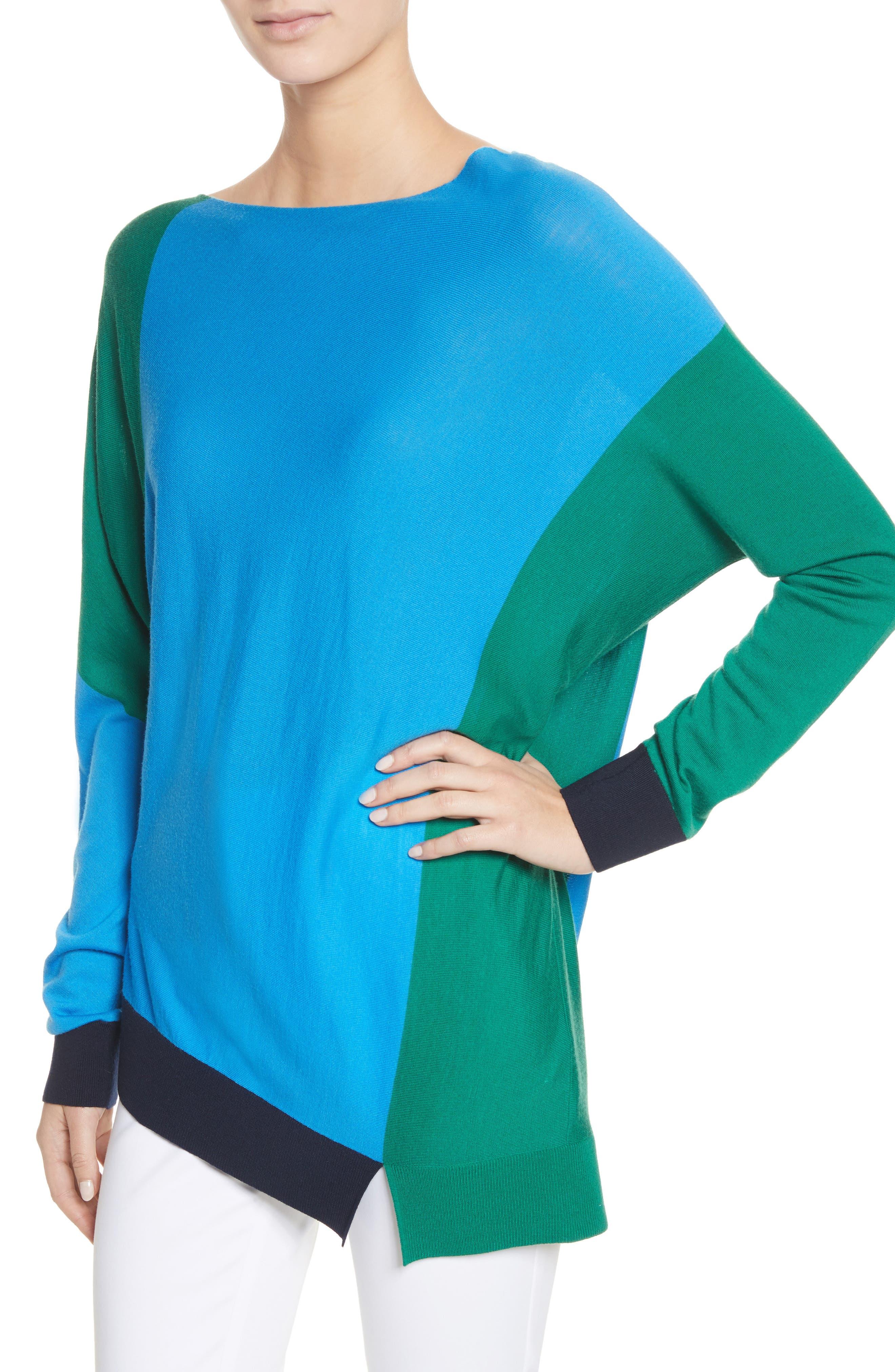 Colorblock Knit Wool Sweater,                             Alternate thumbnail 4, color,                             Cyan/ Emerald/ Navy
