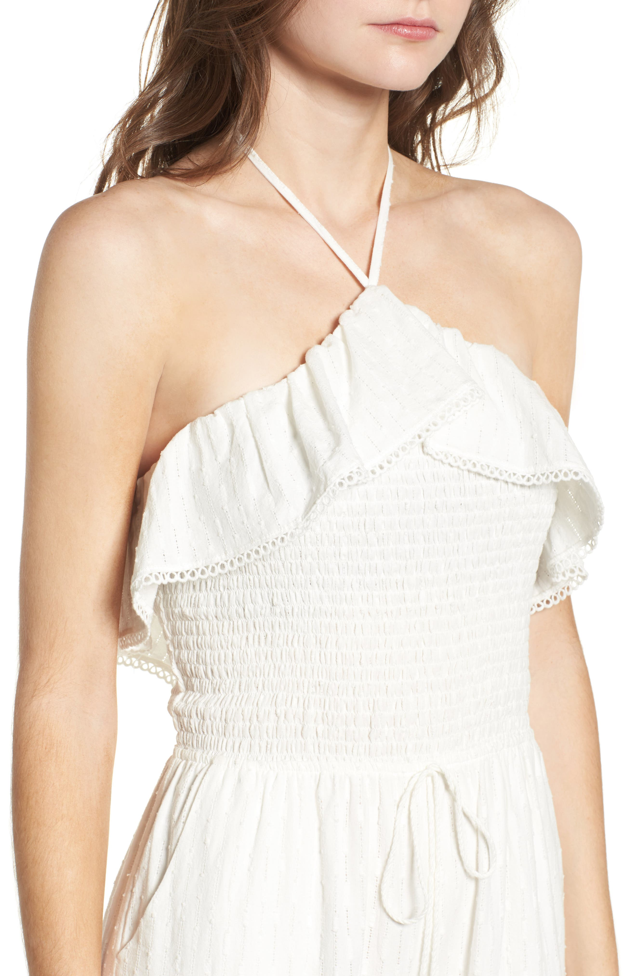 Coco Smocked Ruffle Off the Shoulder Jumpsuit,                             Alternate thumbnail 4, color,                             White