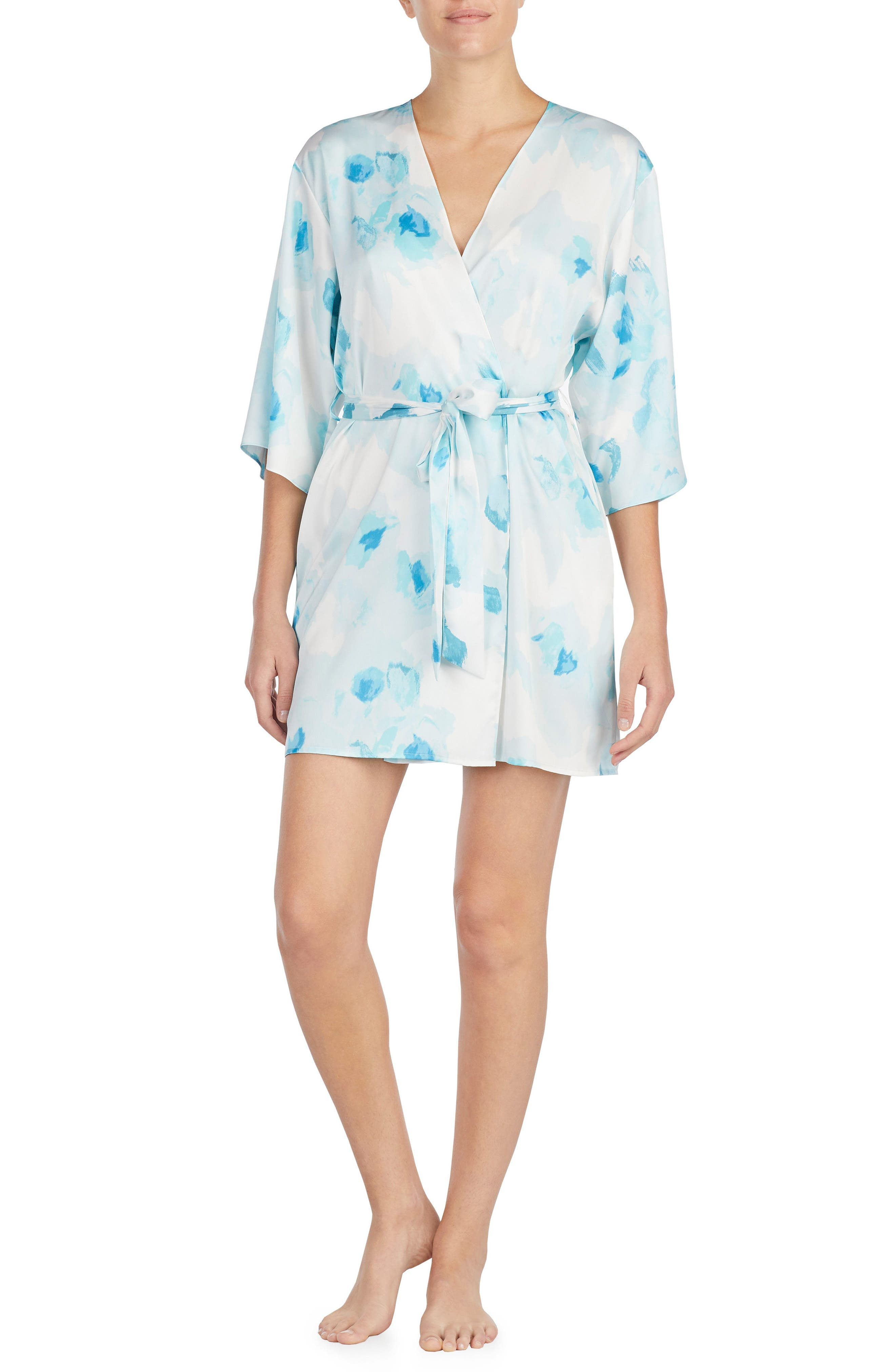 print charmeuse short robe,                         Main,                         color, Moroccan Rose