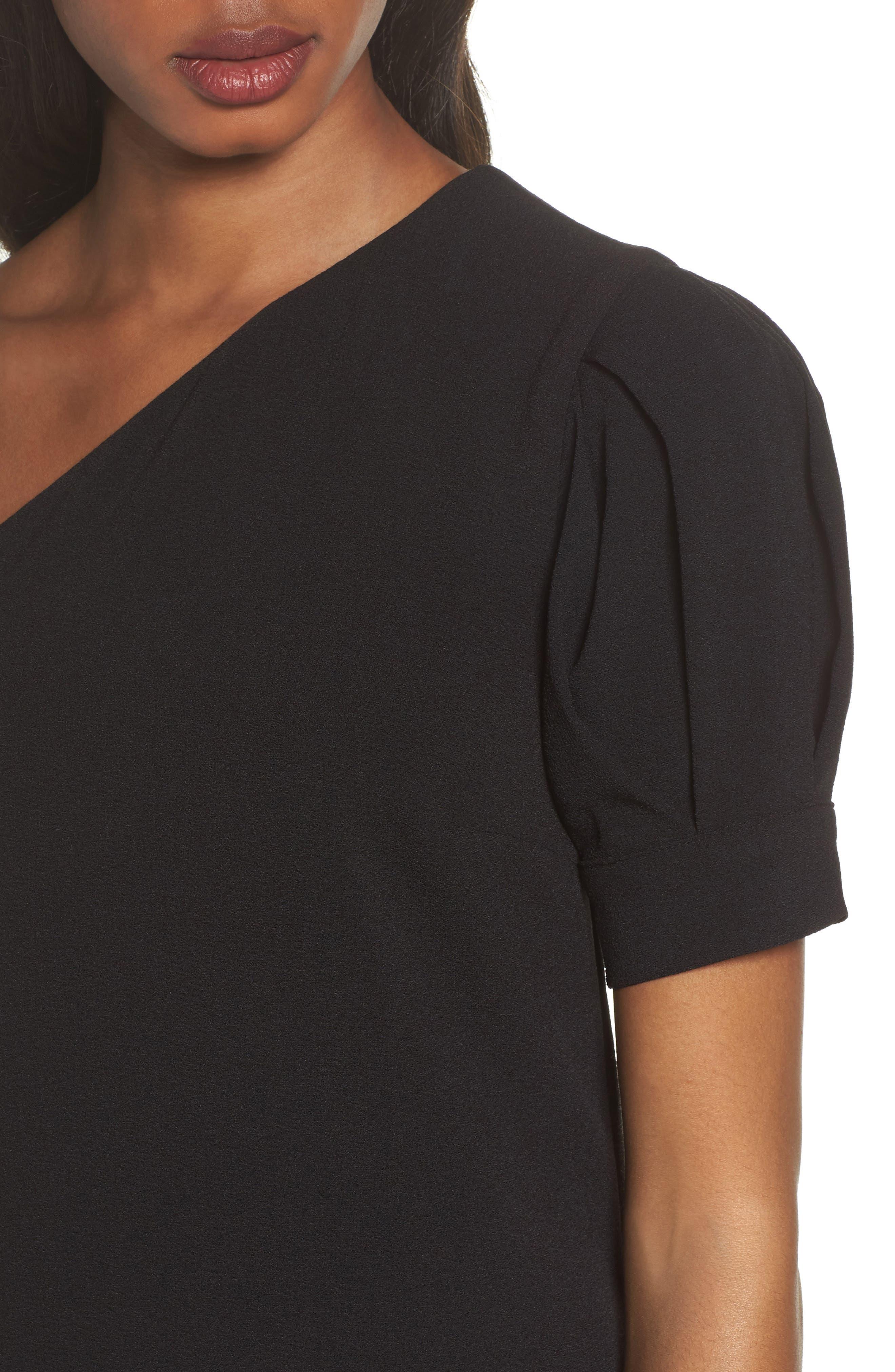 One-Shoulder Shift Dress,                             Alternate thumbnail 4, color,                             Black