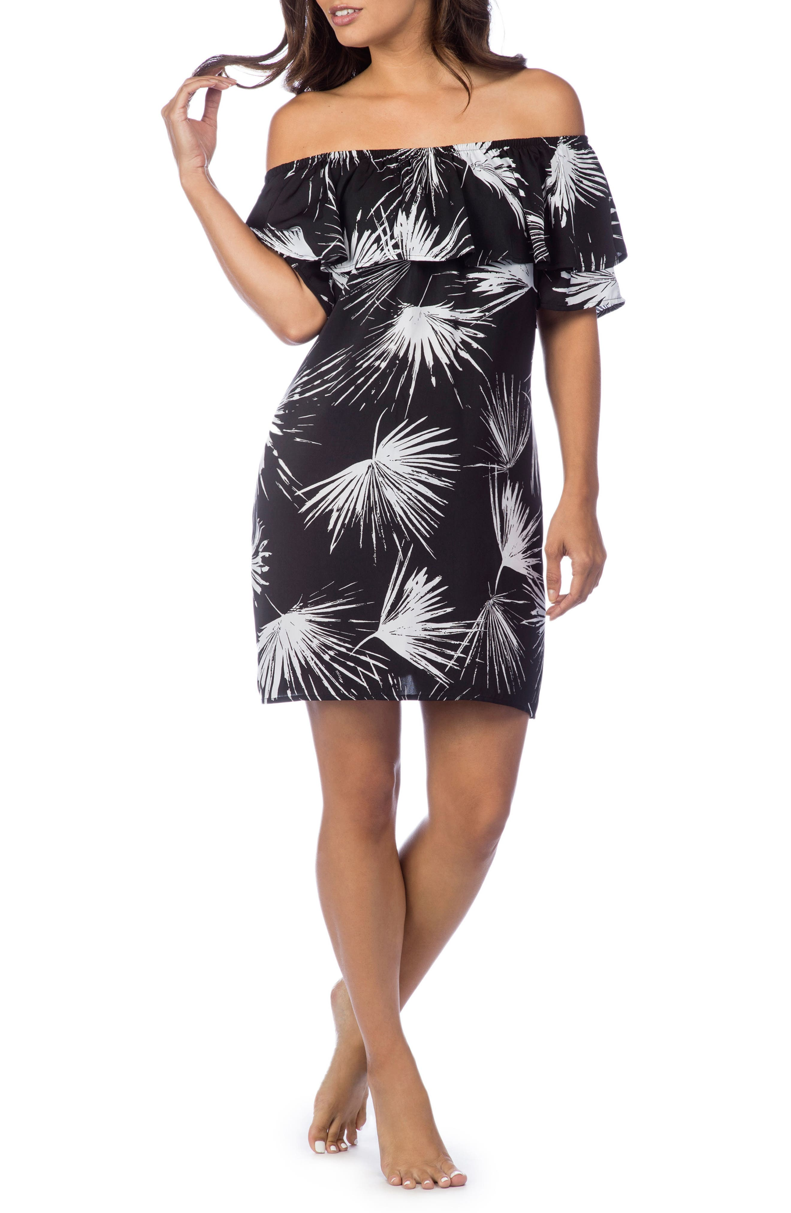 Petal Pusher Off the Shoulder Dress,                             Main thumbnail 1, color,                             Black/ White