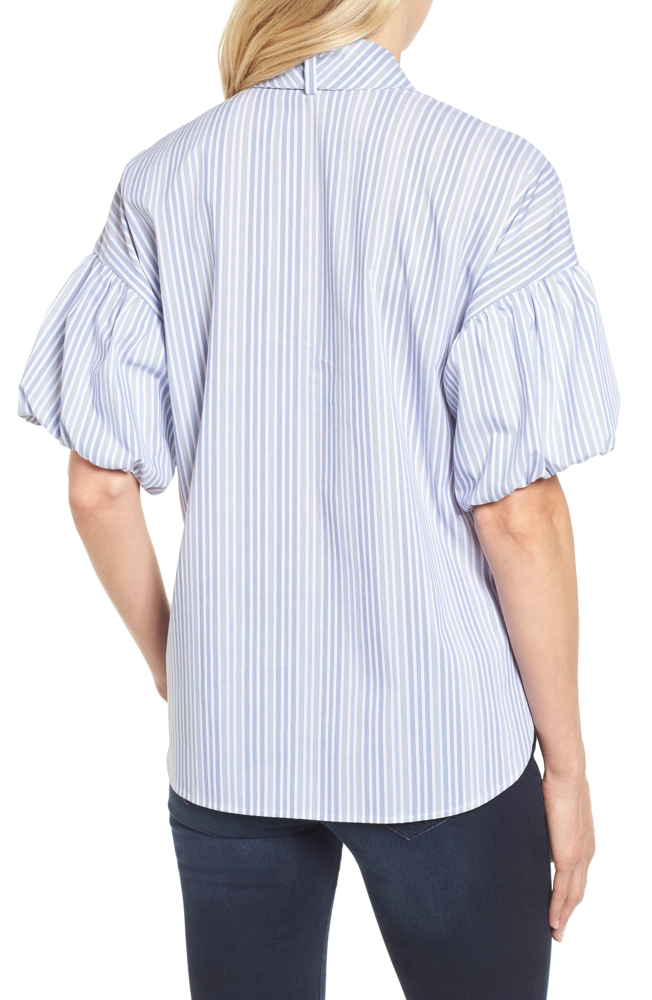 Tie Front Short Sleeve Blouse,                             Alternate thumbnail 3, color,                             Blue- White Stripe