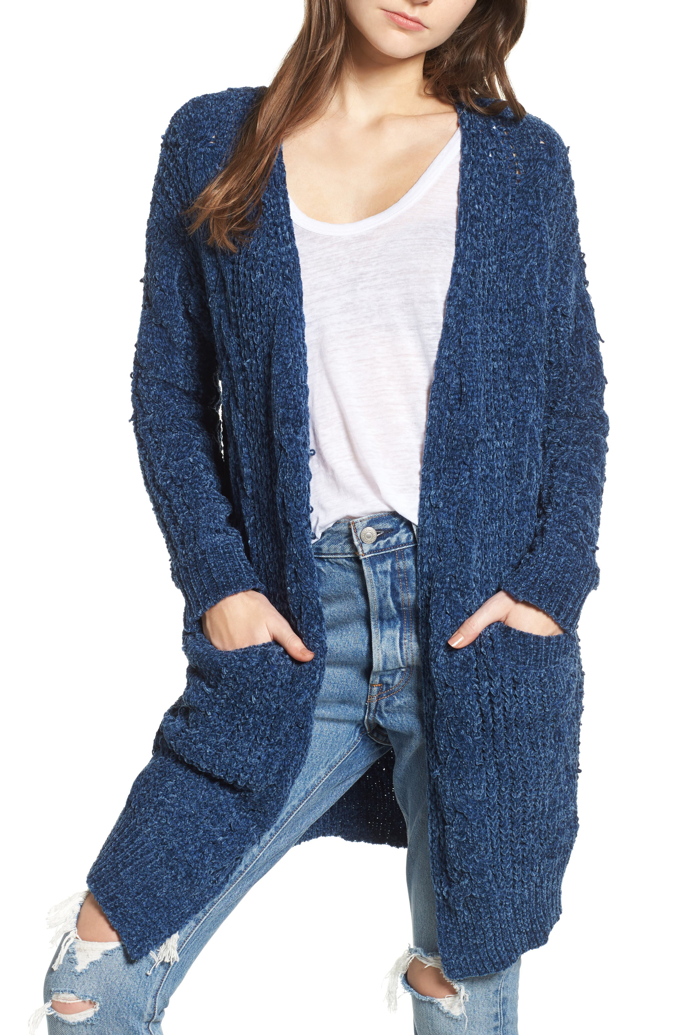 Main Image - Woven Heart Cable Knit Chenille Cardigan