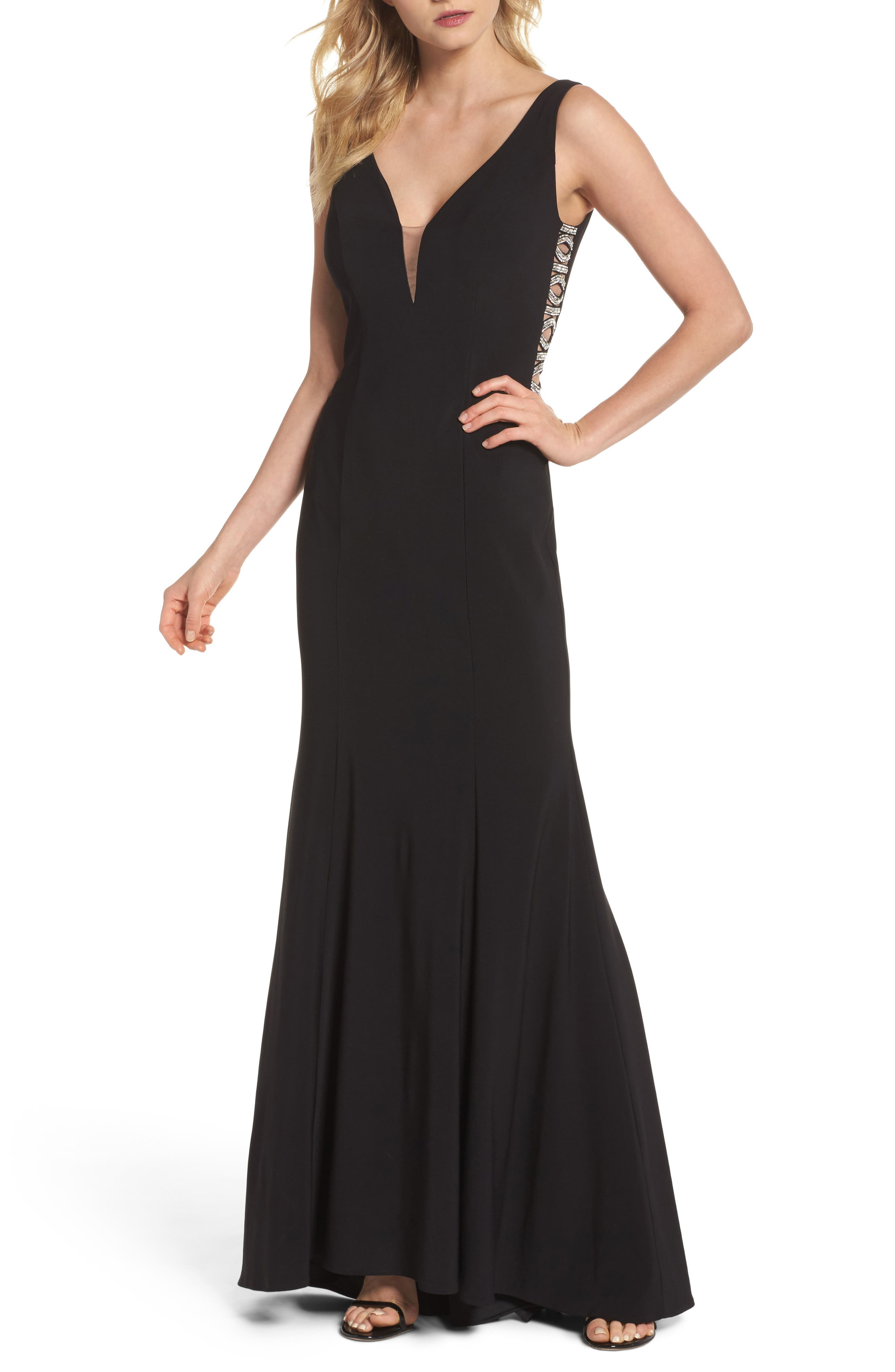 Sequin Side Gown,                             Main thumbnail 1, color,                             Black