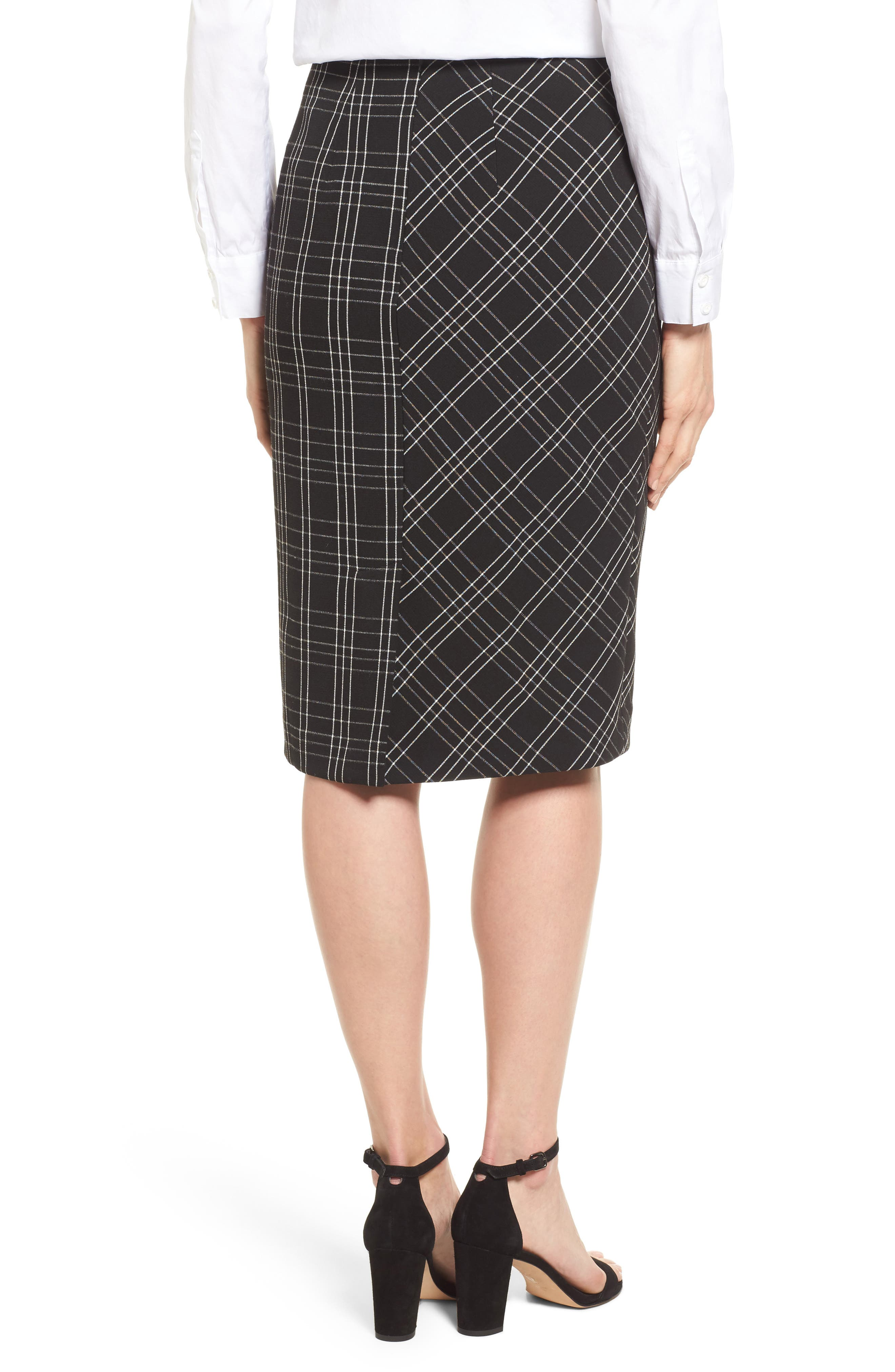 Plaid Pencil Skirt,                             Alternate thumbnail 2, color,                             Black- White Plaid