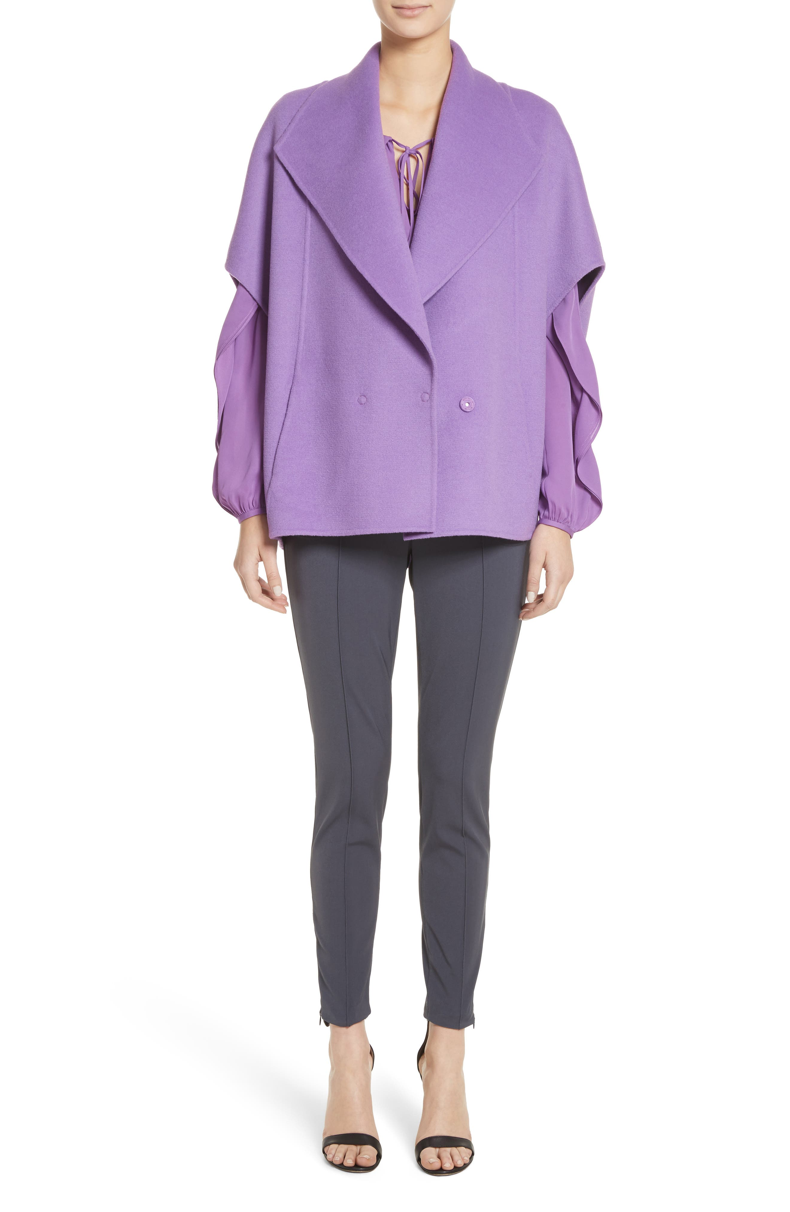 Double Face Wool & Angora Blend Jacket,                             Alternate thumbnail 8, color,                             Dark Orchid