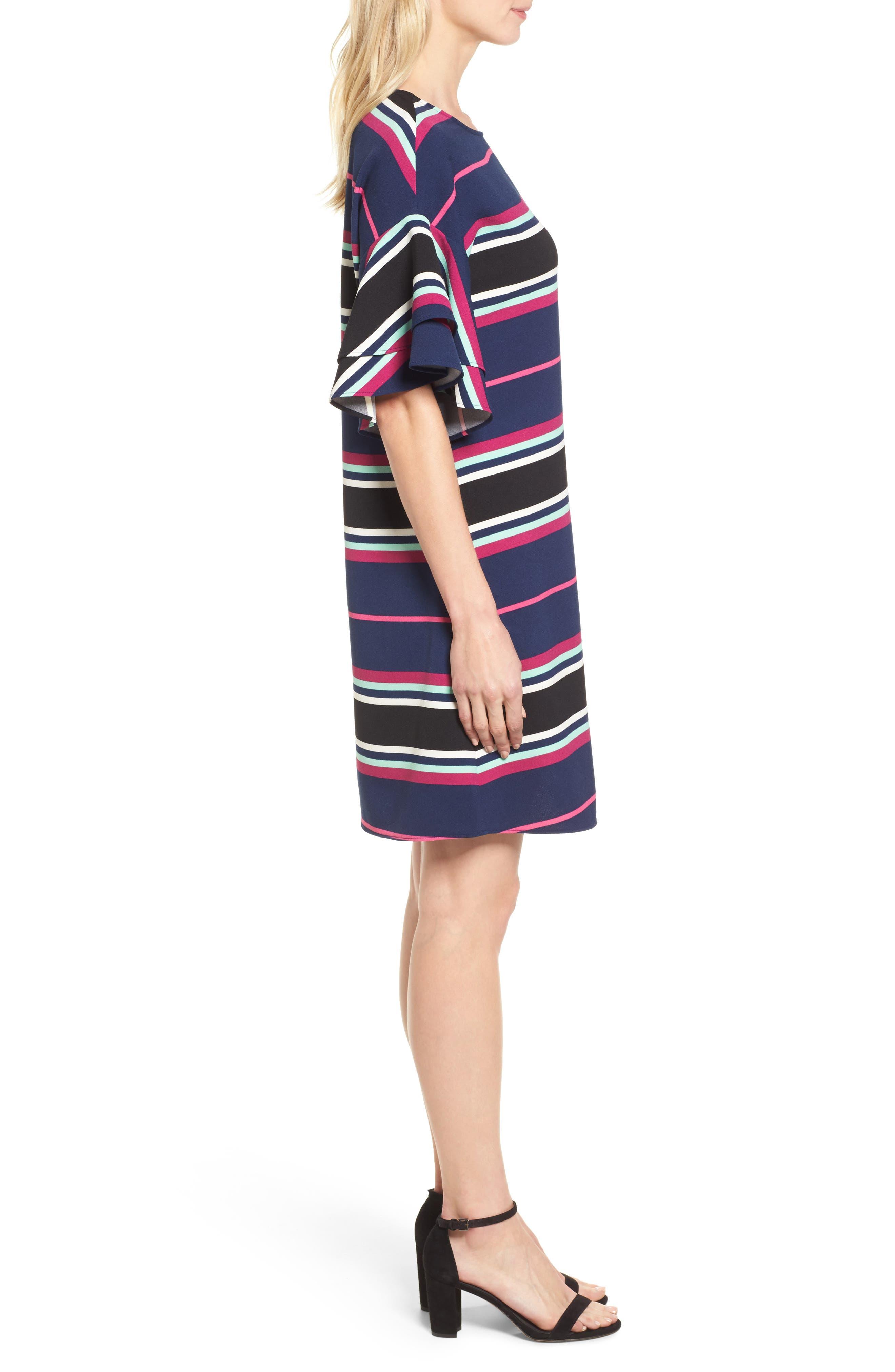 Ruffle Sleeve Shift Dress,                             Alternate thumbnail 3, color,                             Navy- Pink Multi Stripe