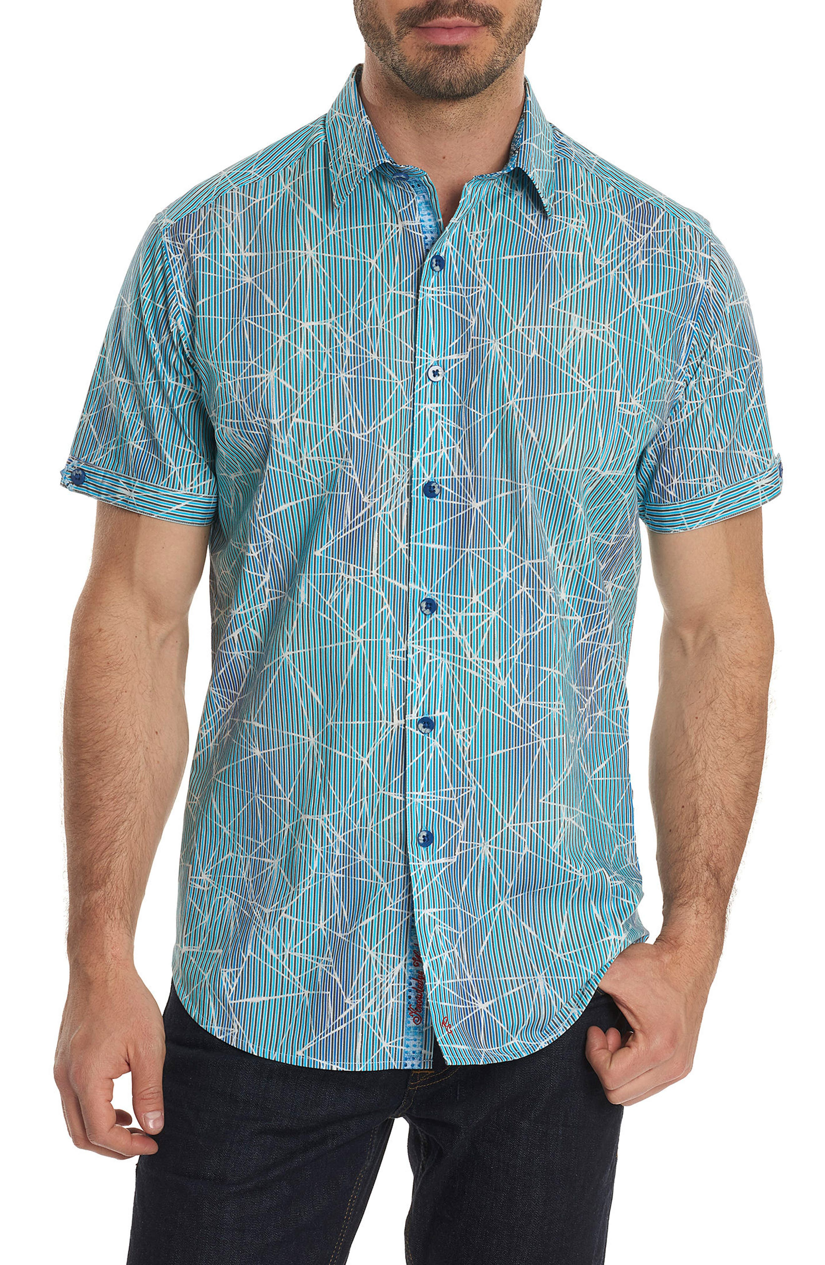 Illusions Print Sport Shirt,                             Main thumbnail 1, color,                             Turquoise