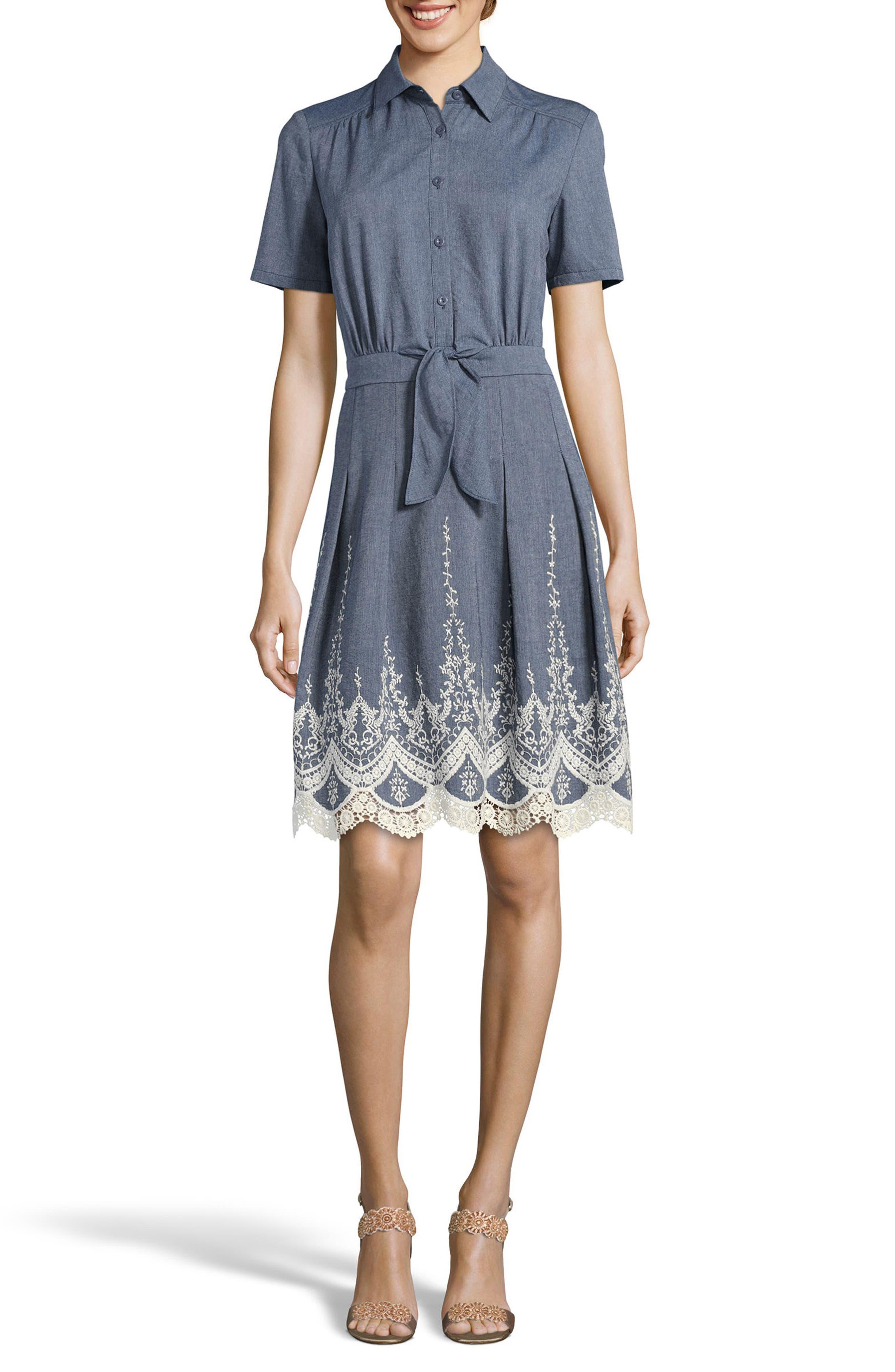 Lace Trim Denim Shirtdress,                             Main thumbnail 1, color,                             Blue/ Ivory