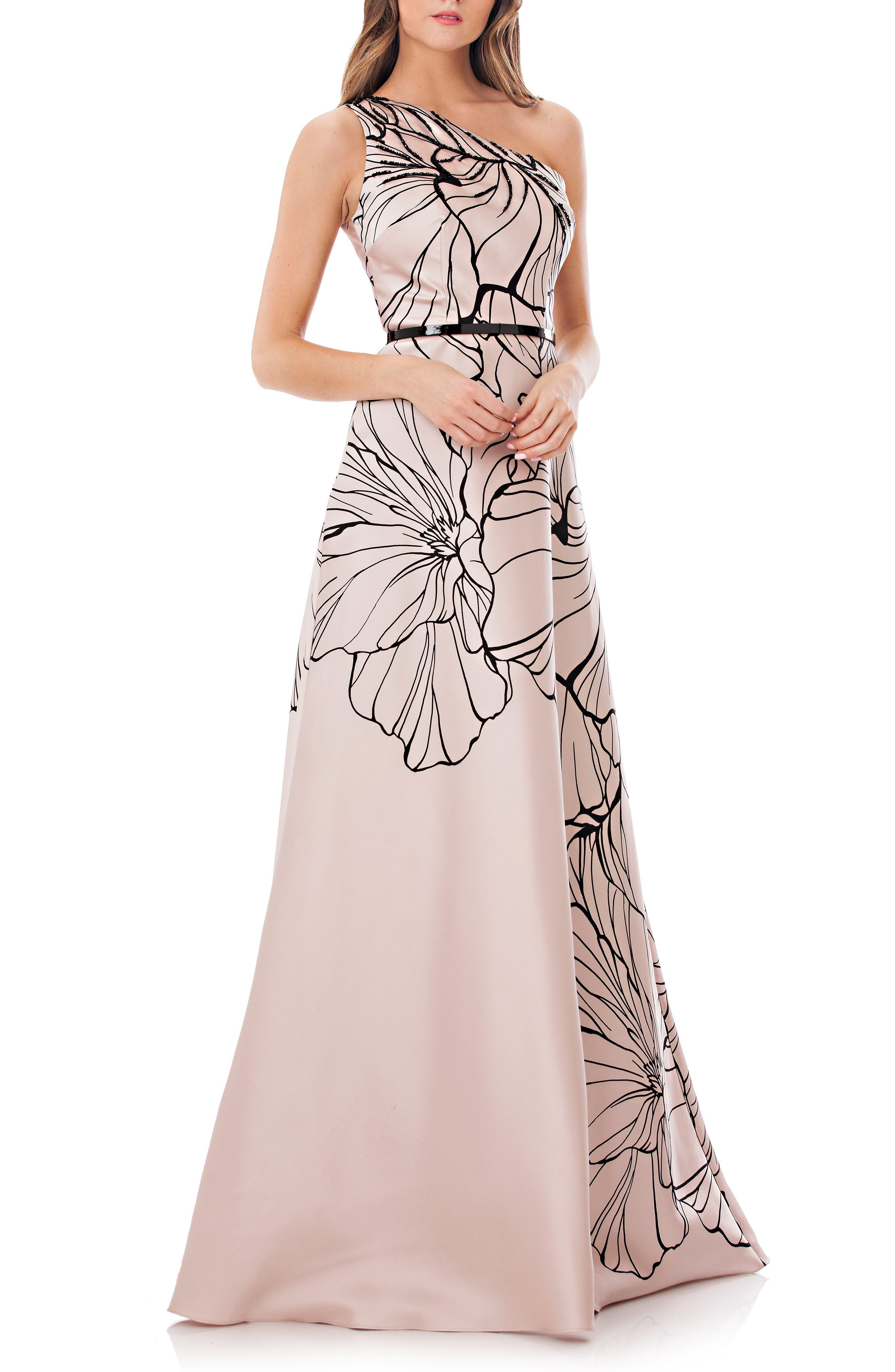Main Image - Carmen Marc Valvo Infusion Print One-Shoulder Mikado Gown