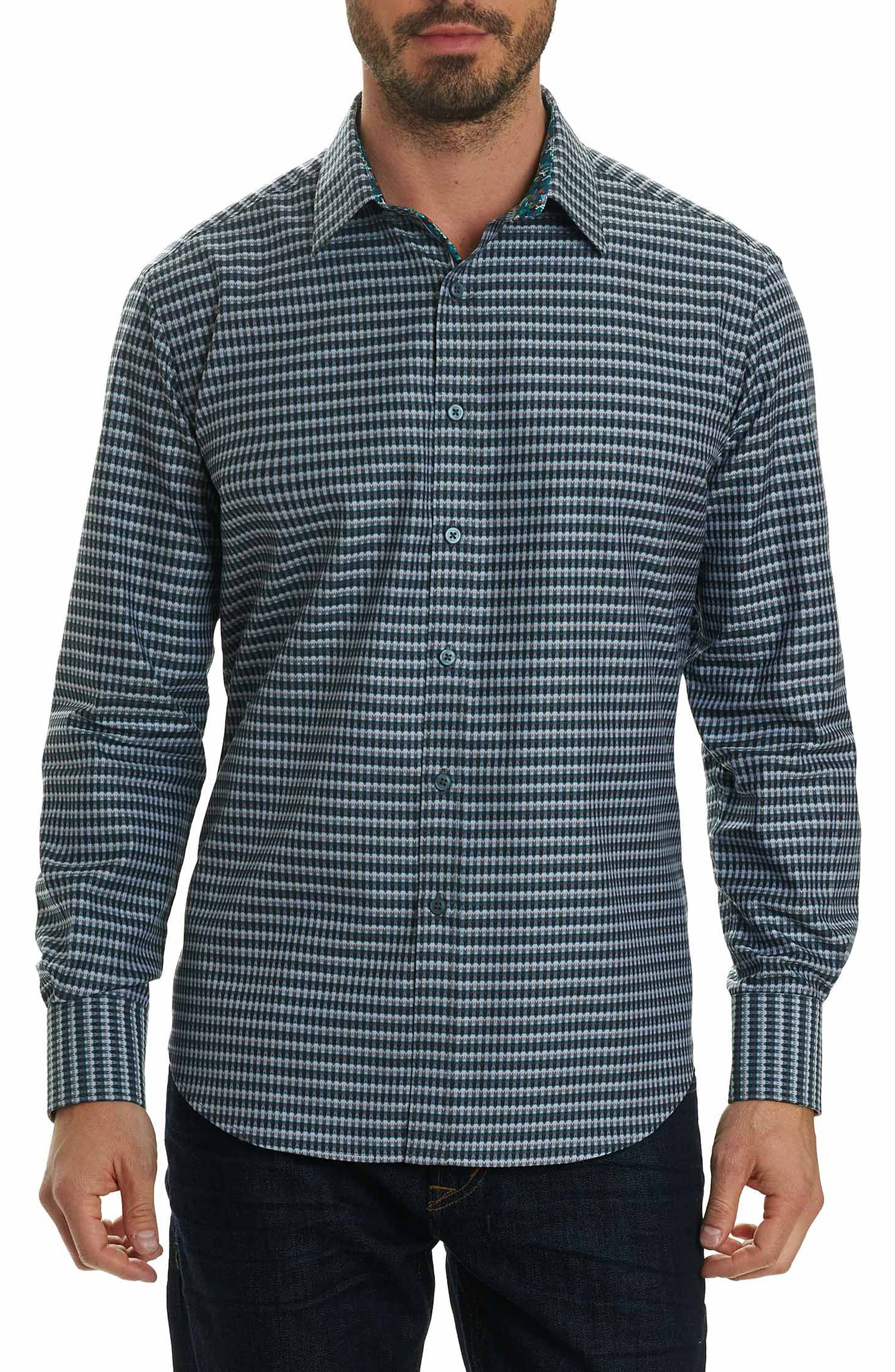 Hill Punch Classic Fit Print Sport Shirt,                         Main,                         color, Grey