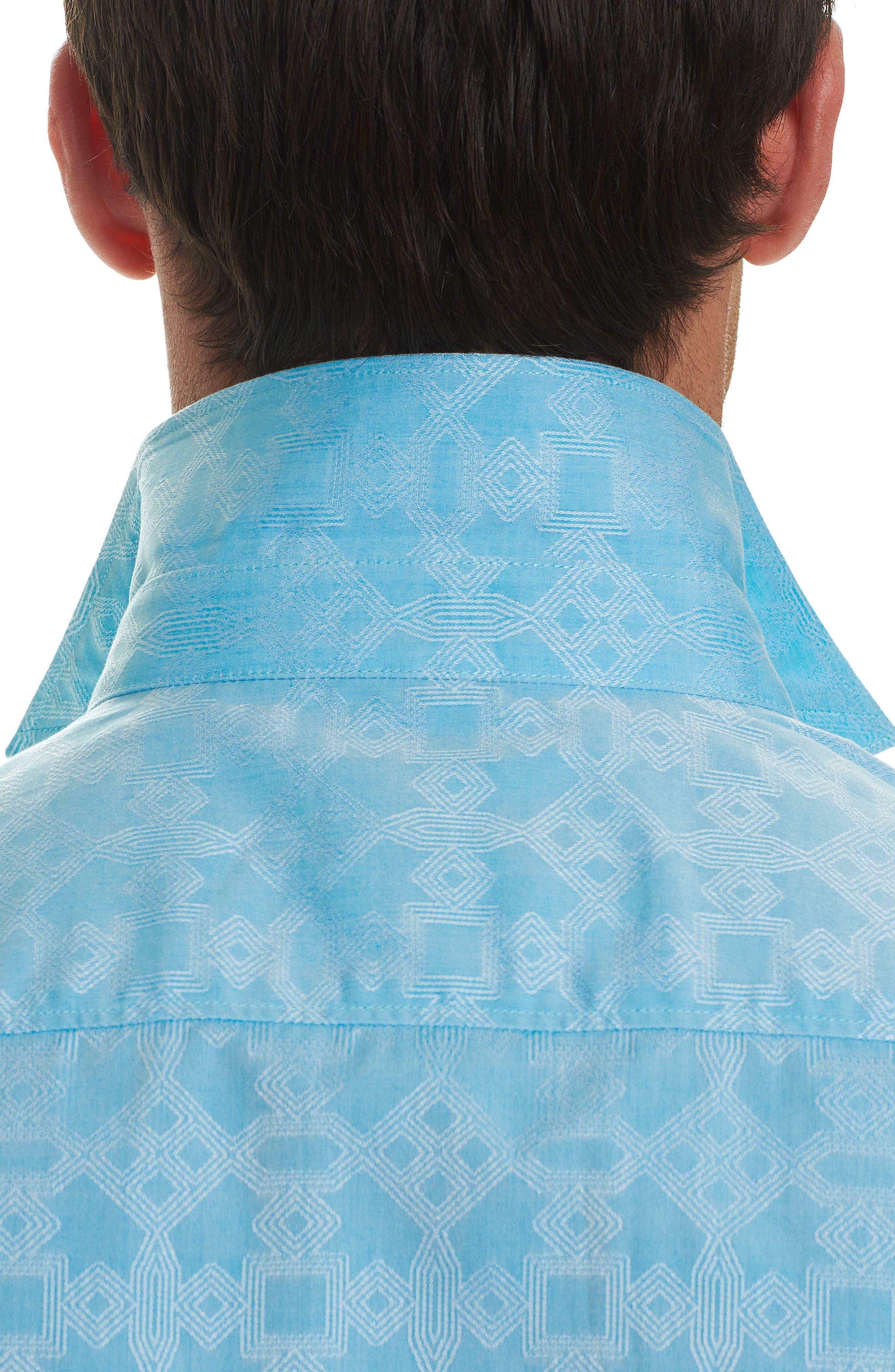 Maya Bay Classic Fit Jacquard Sport Shirt,                             Alternate thumbnail 3, color,                             Turquoise