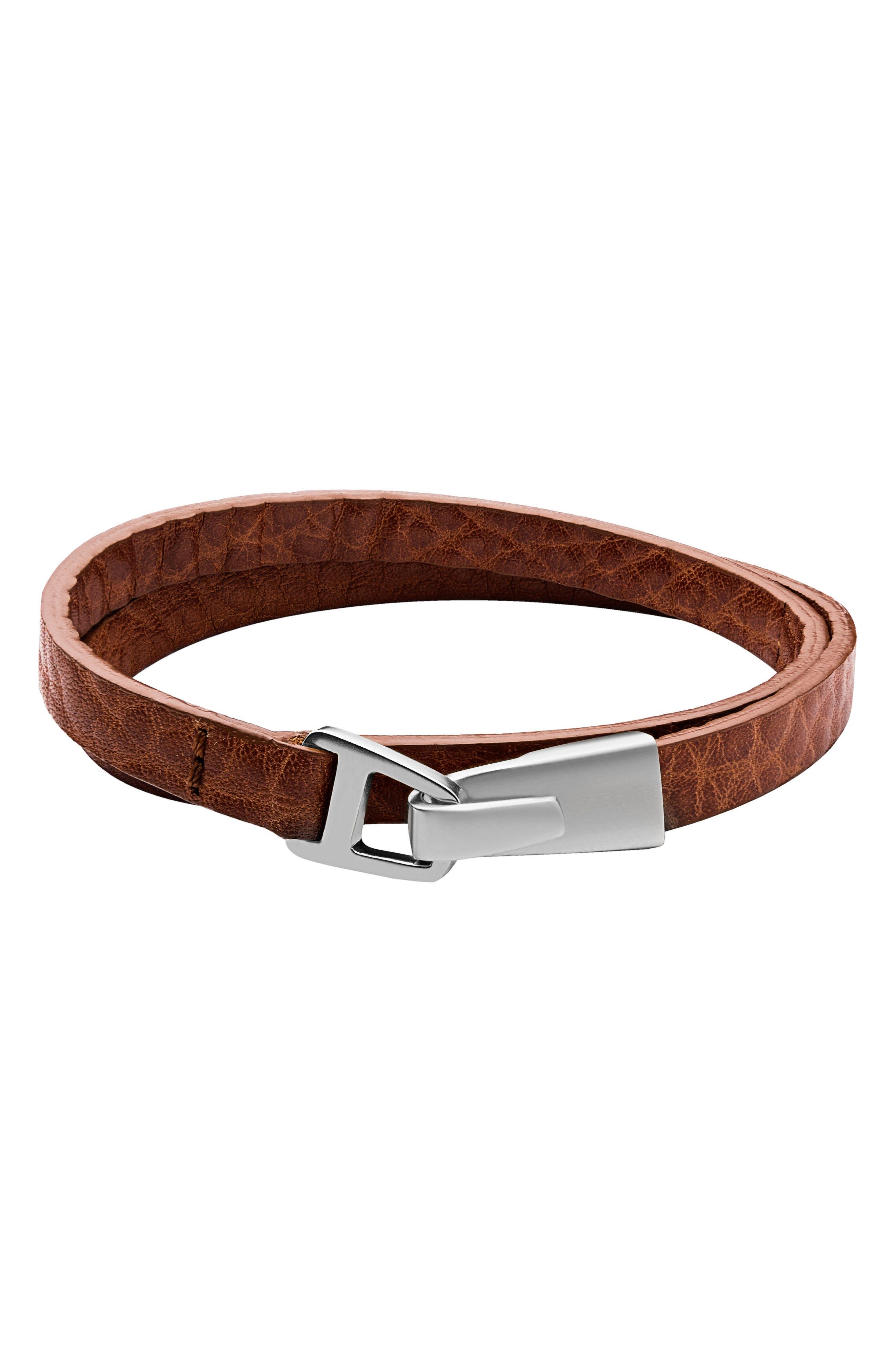 Moore Leather Wrap Bracelet,                         Main,                         color, Sahara