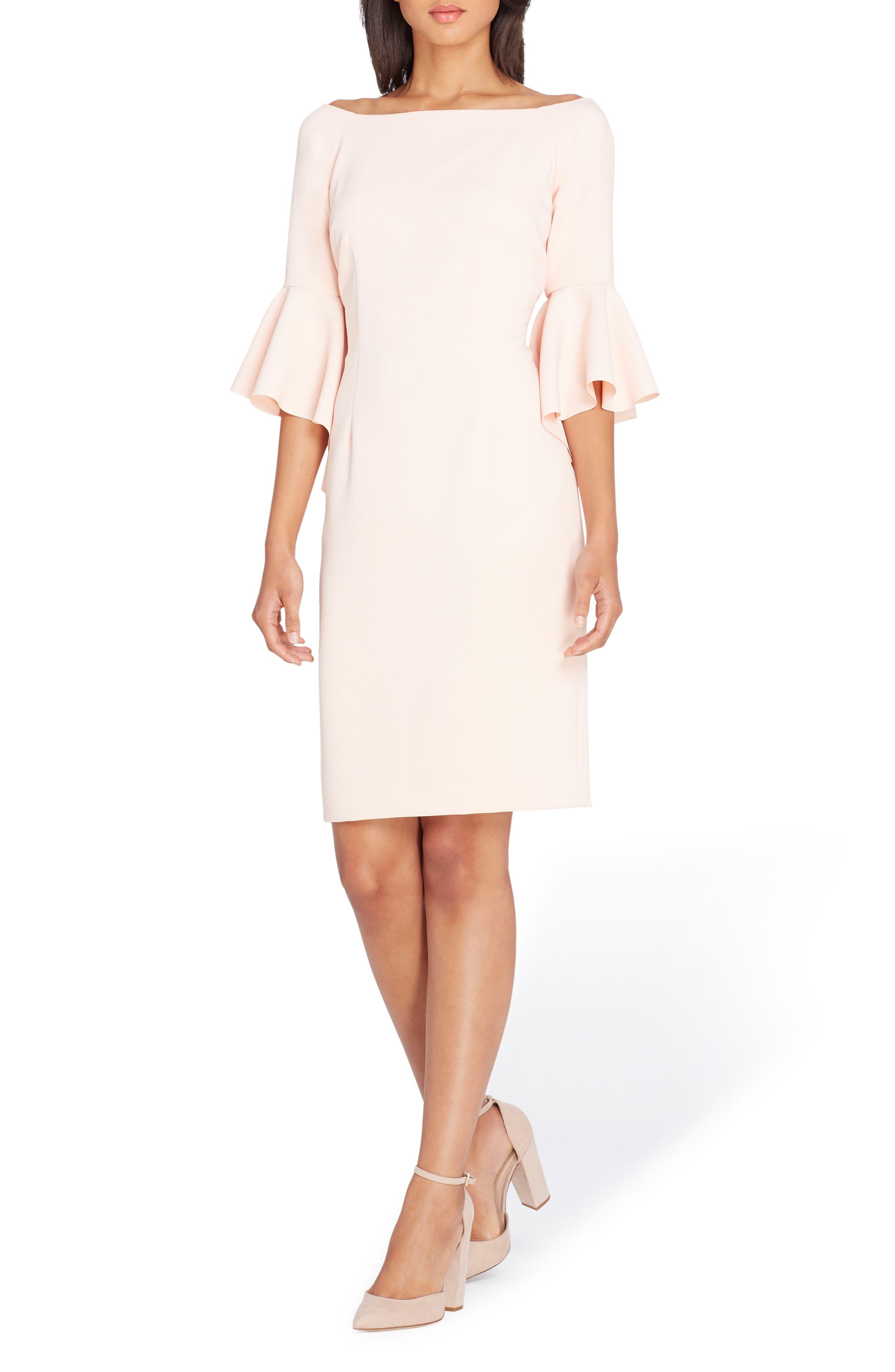 Ruffle Sleeve Sheath Dress,                             Main thumbnail 1, color,                             Blush