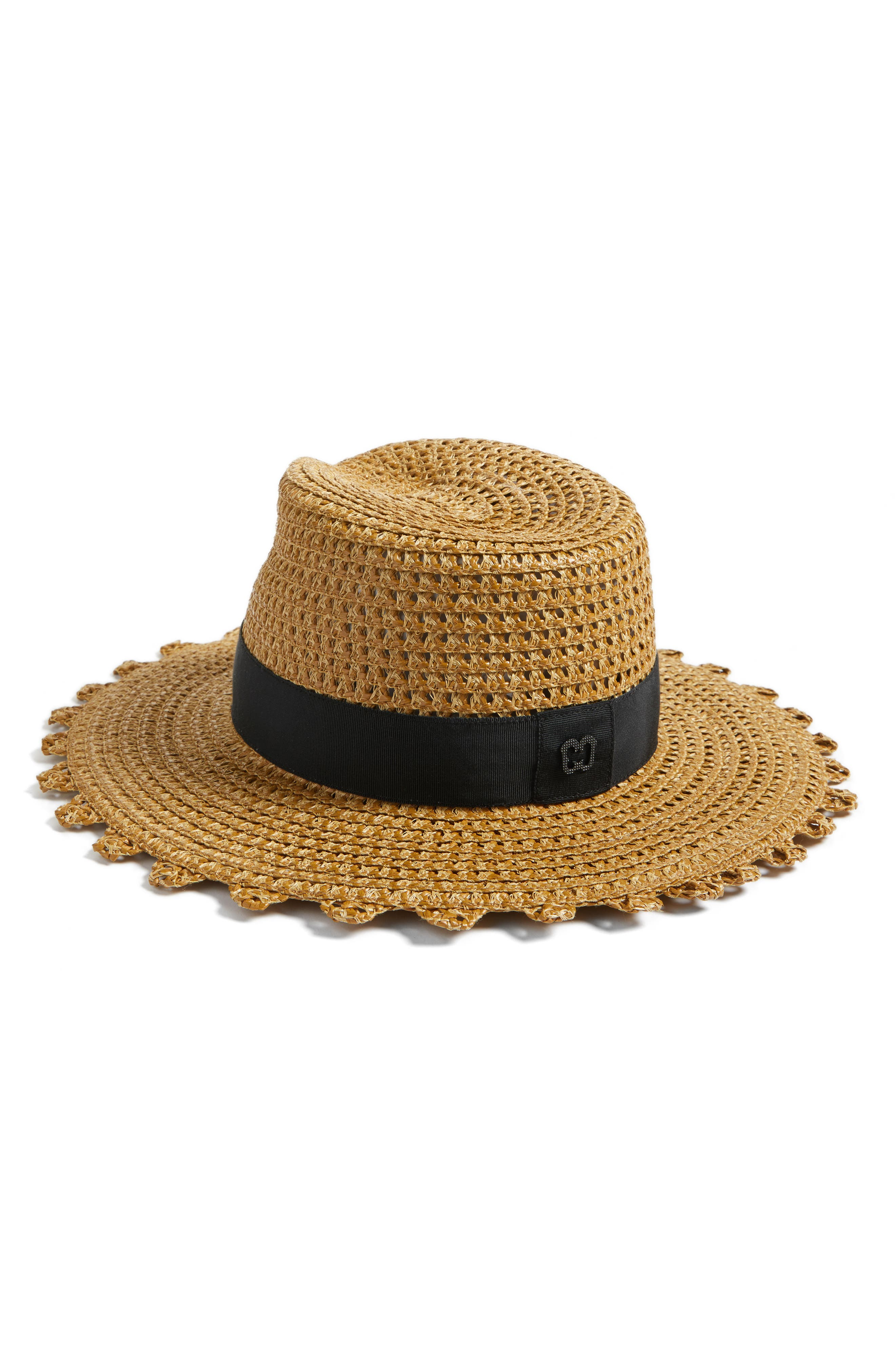 Cannes Squishee<sup>®</sup> Straw Hat,                             Alternate thumbnail 3, color,                             Natural/ Black
