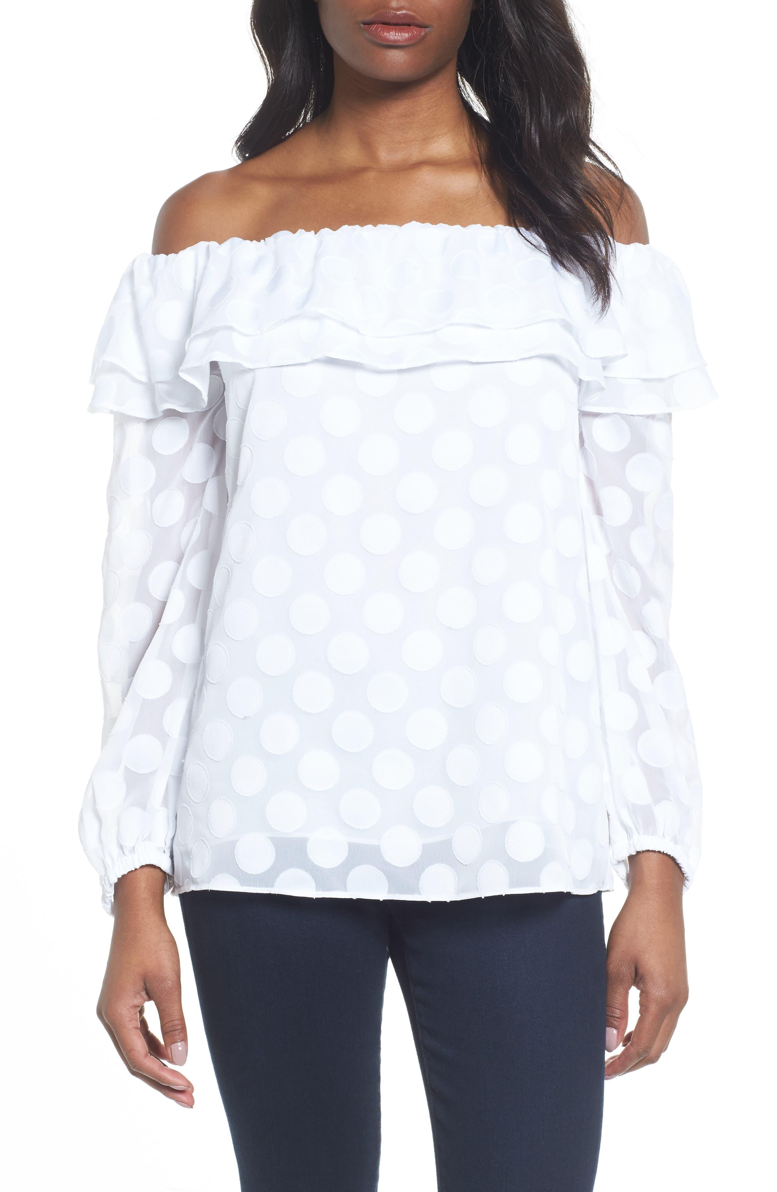 Off the Shoulder Dot Jacquard Top,                         Main,                         color, White