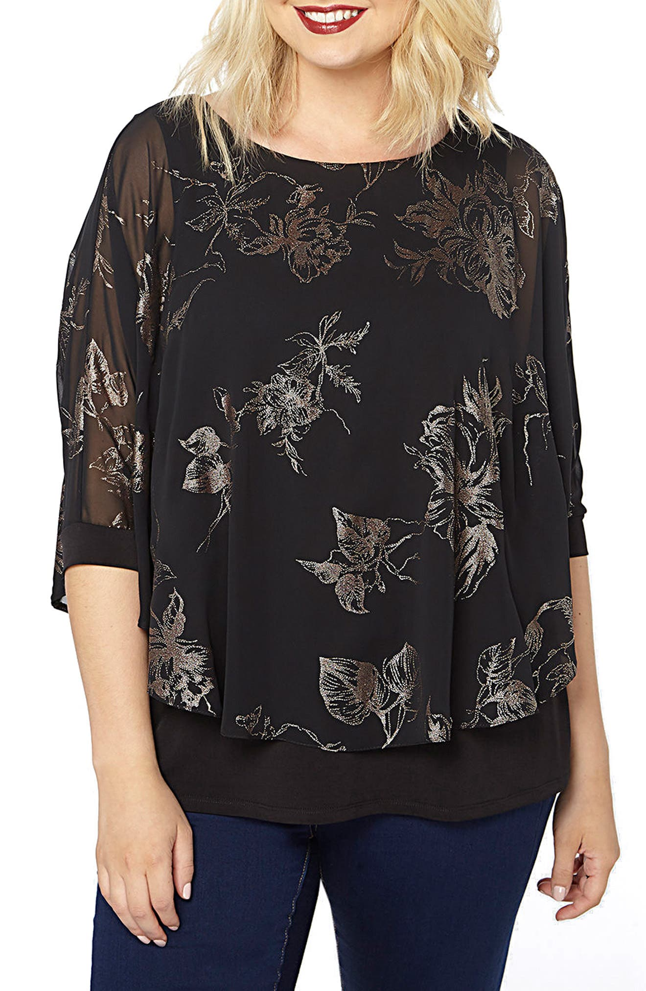 Main Image - Evans Flower Overlay Top (Plus Size)
