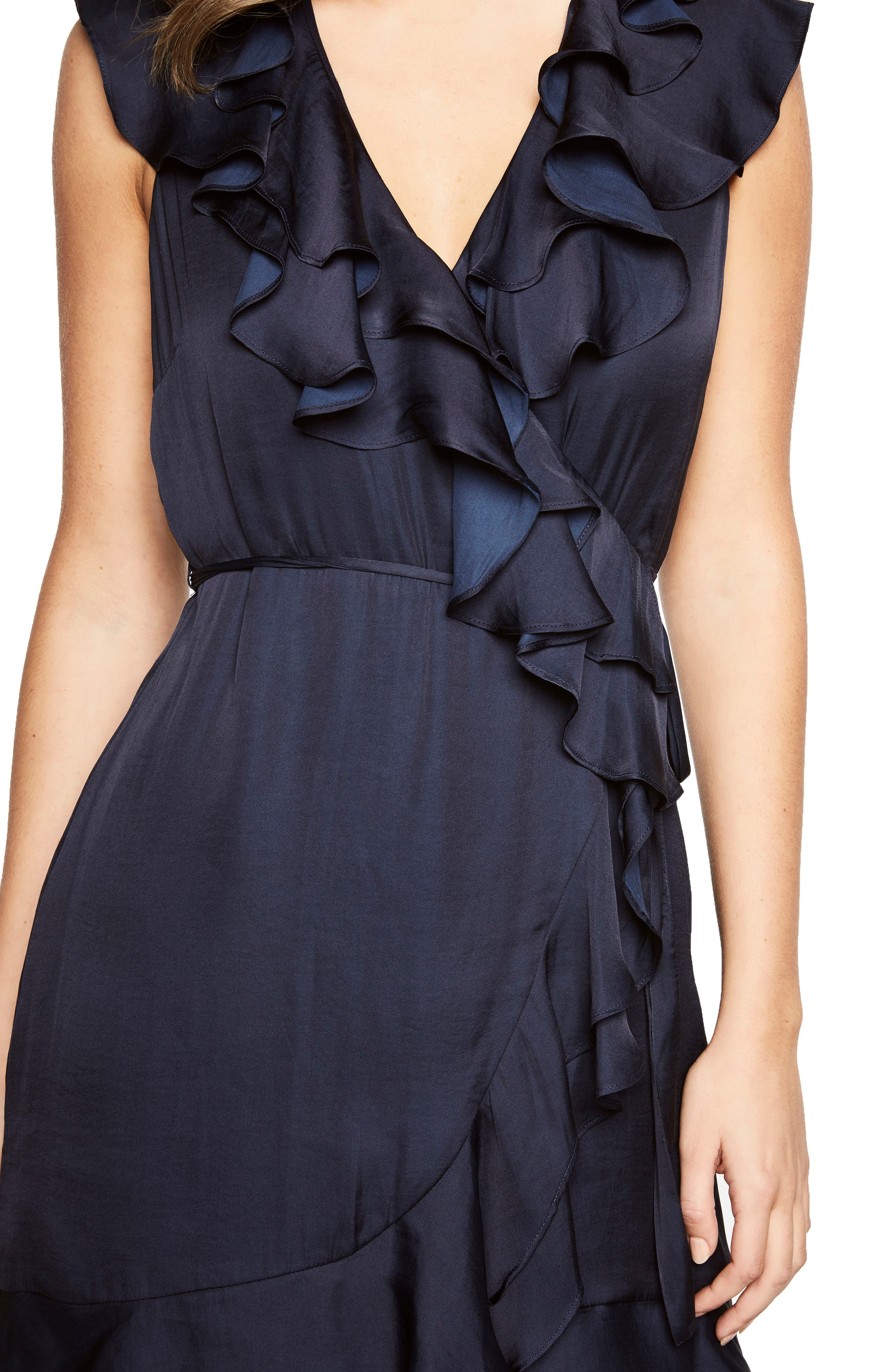 Ruffle Faux Wrap Dress,                             Alternate thumbnail 5, color,                             Navy